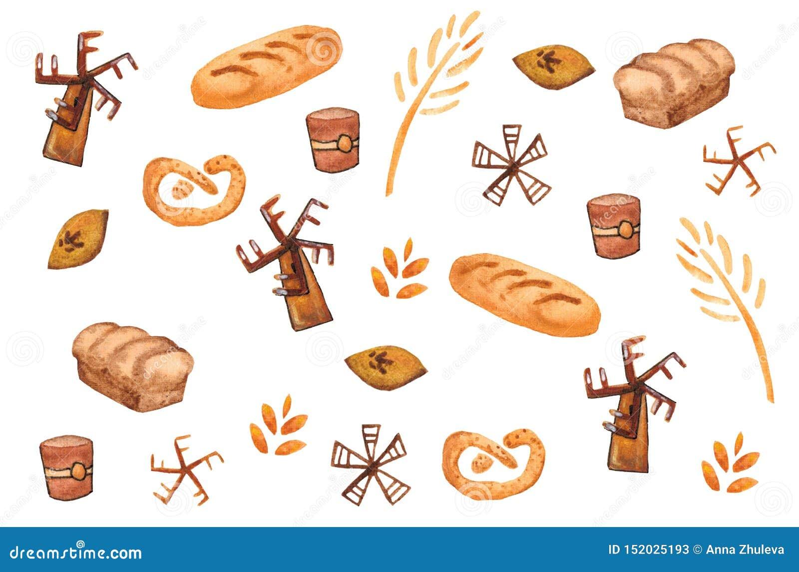 Bakkerijproducten, het bakken druk Gebakje naadloos patroon Leuke keukenachtergrond