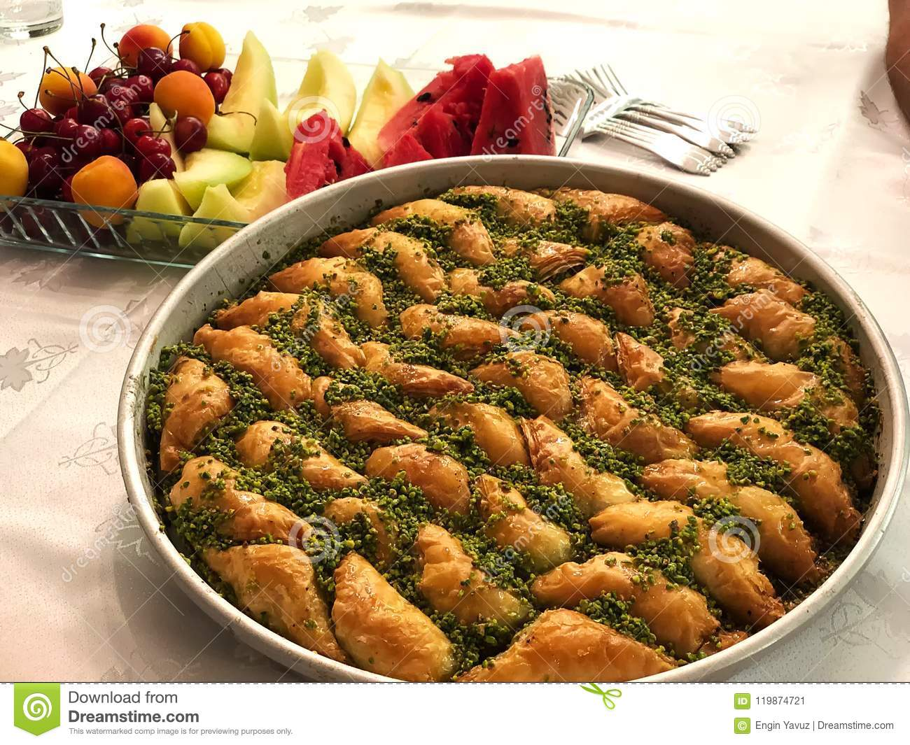 Baklava and Fruits.Turkish important dessert.