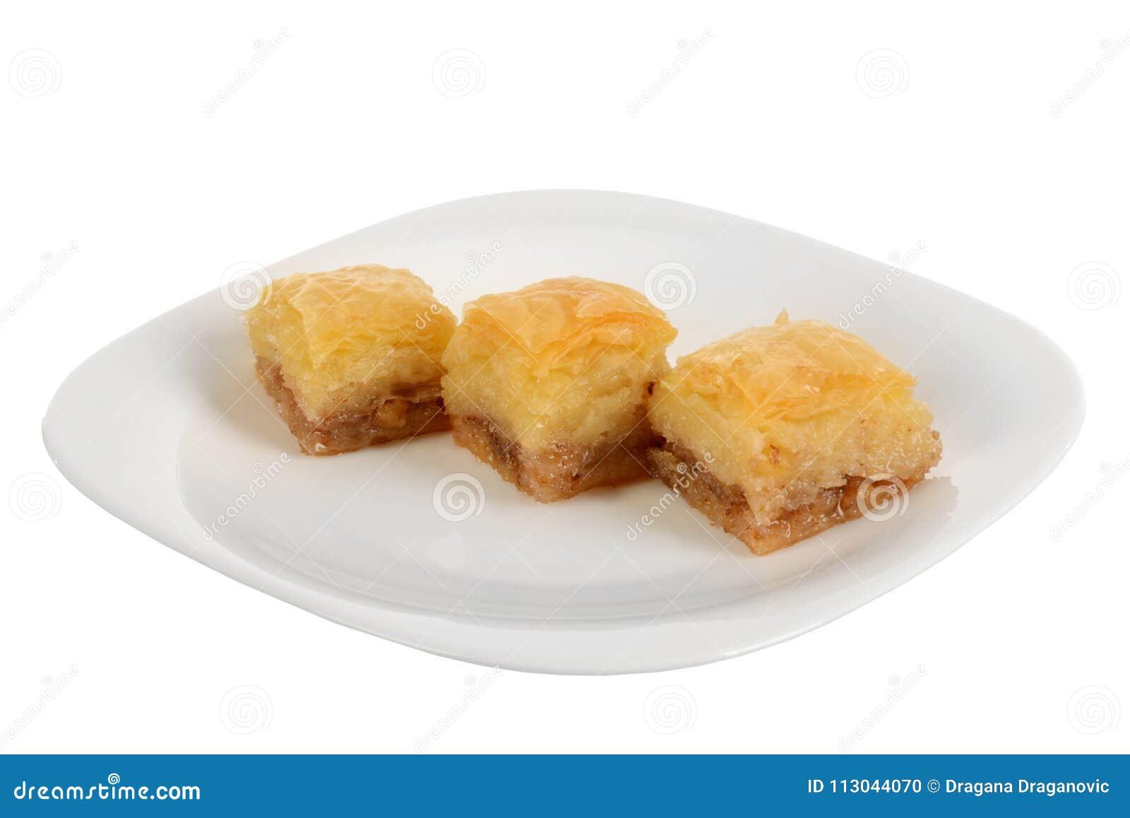 Baklava orientale tradizionale del dessert con sciroppo