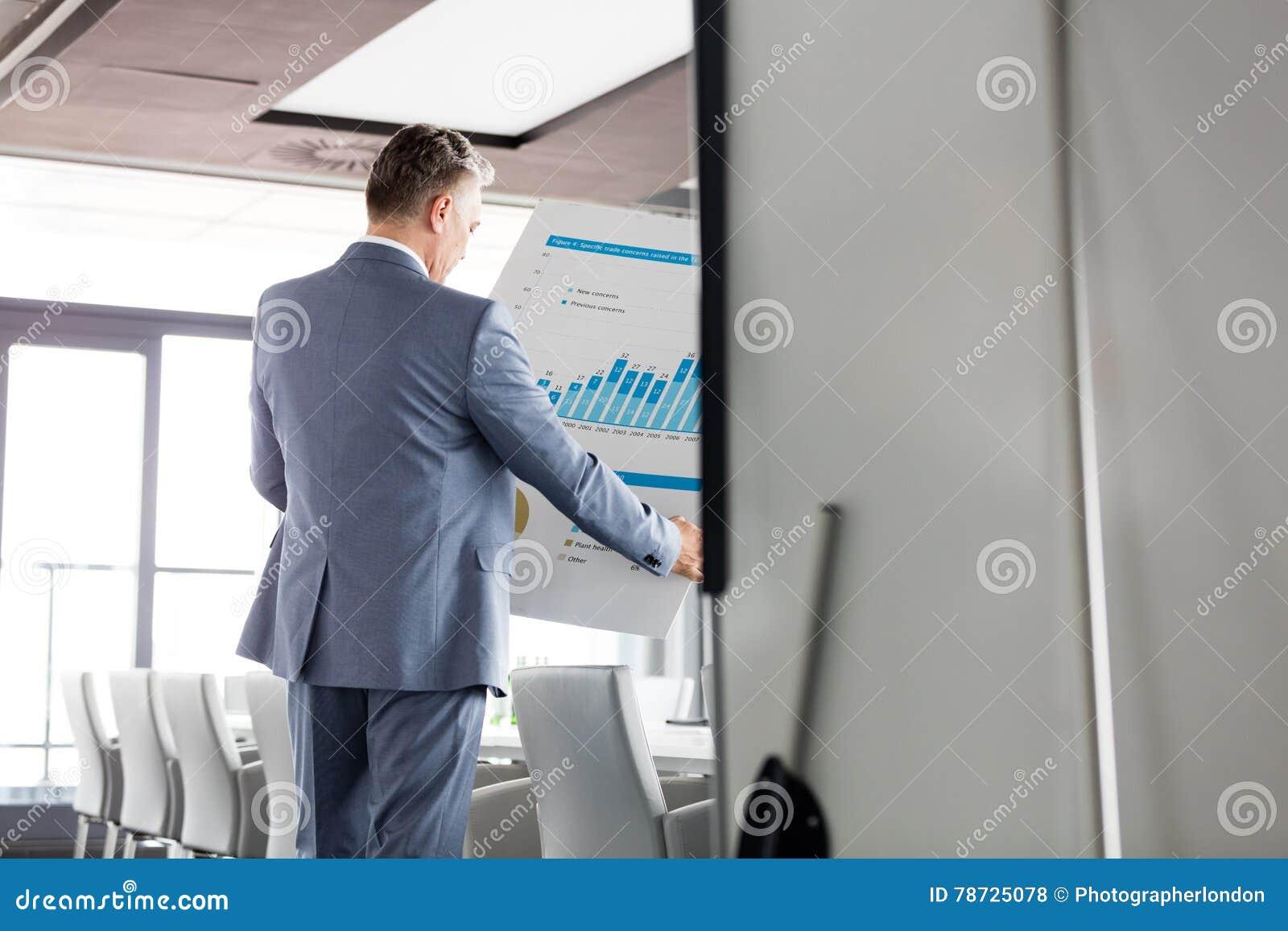 Bakre sikt av affärsmannen som analyserar grafen på diagram i bräderum
