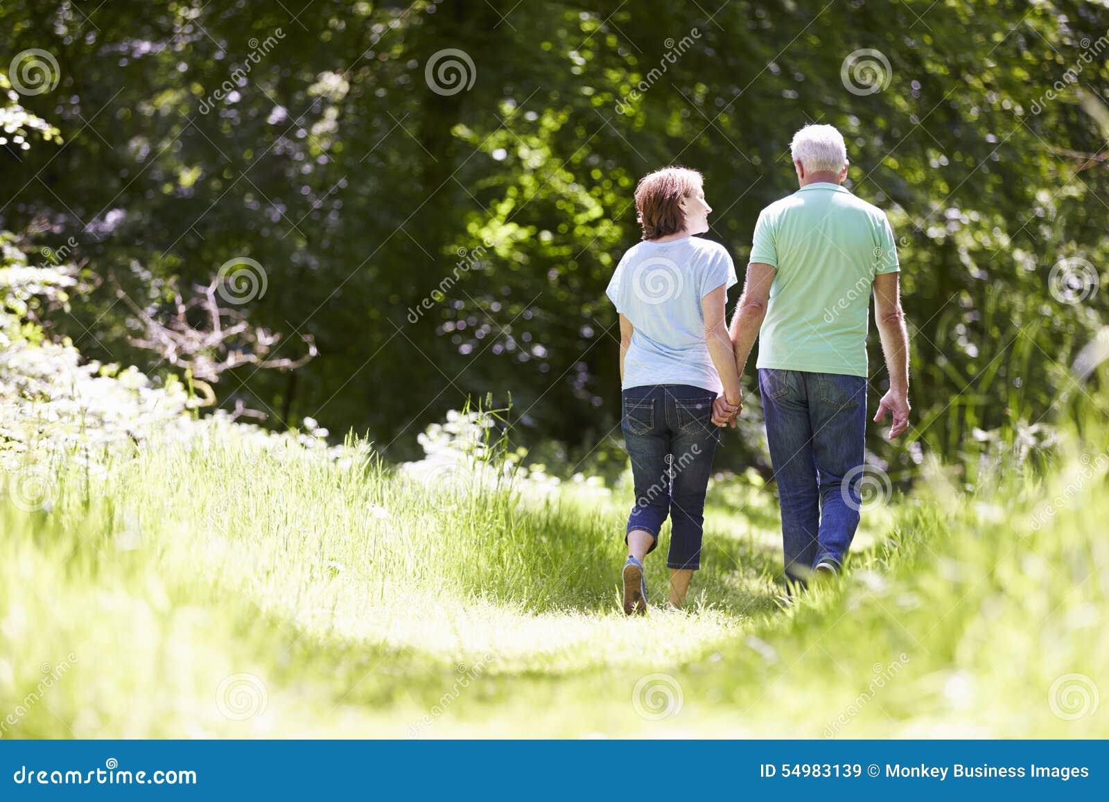 Bakre sikt av höga par som går i sommarbygd