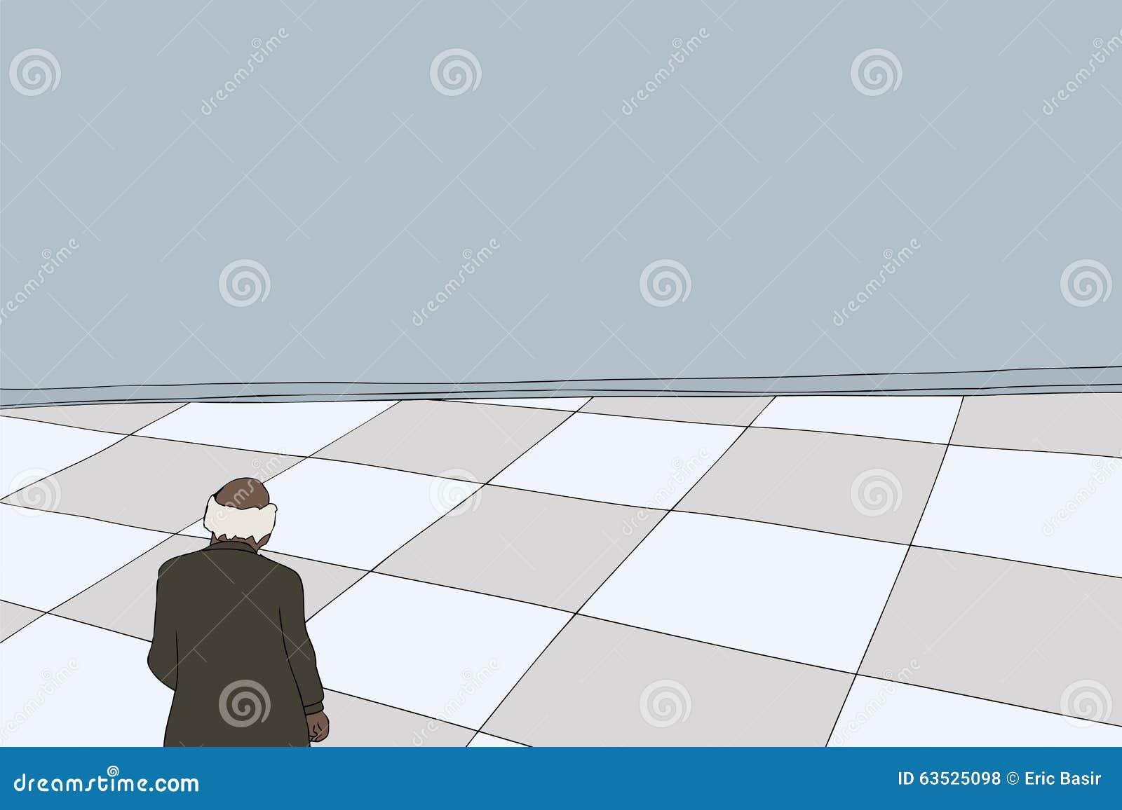 Baksida av mannen i tomt rum