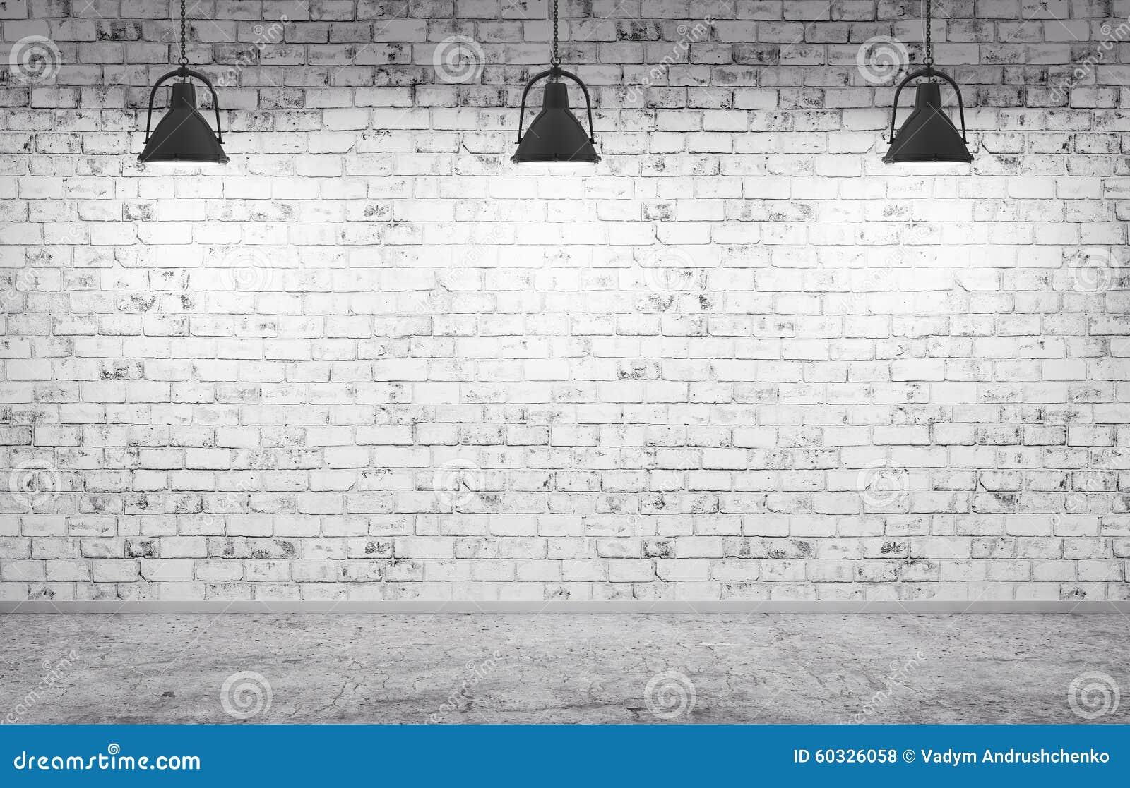 Bakstenen muur, de concrete vloer en 3d lampen de achtergrond geven terug