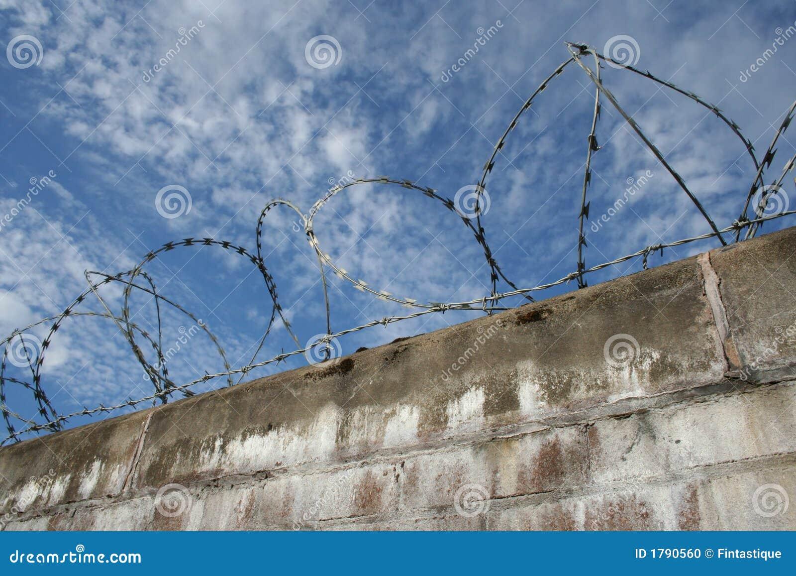 Bakstenen muur met prikkeldraad