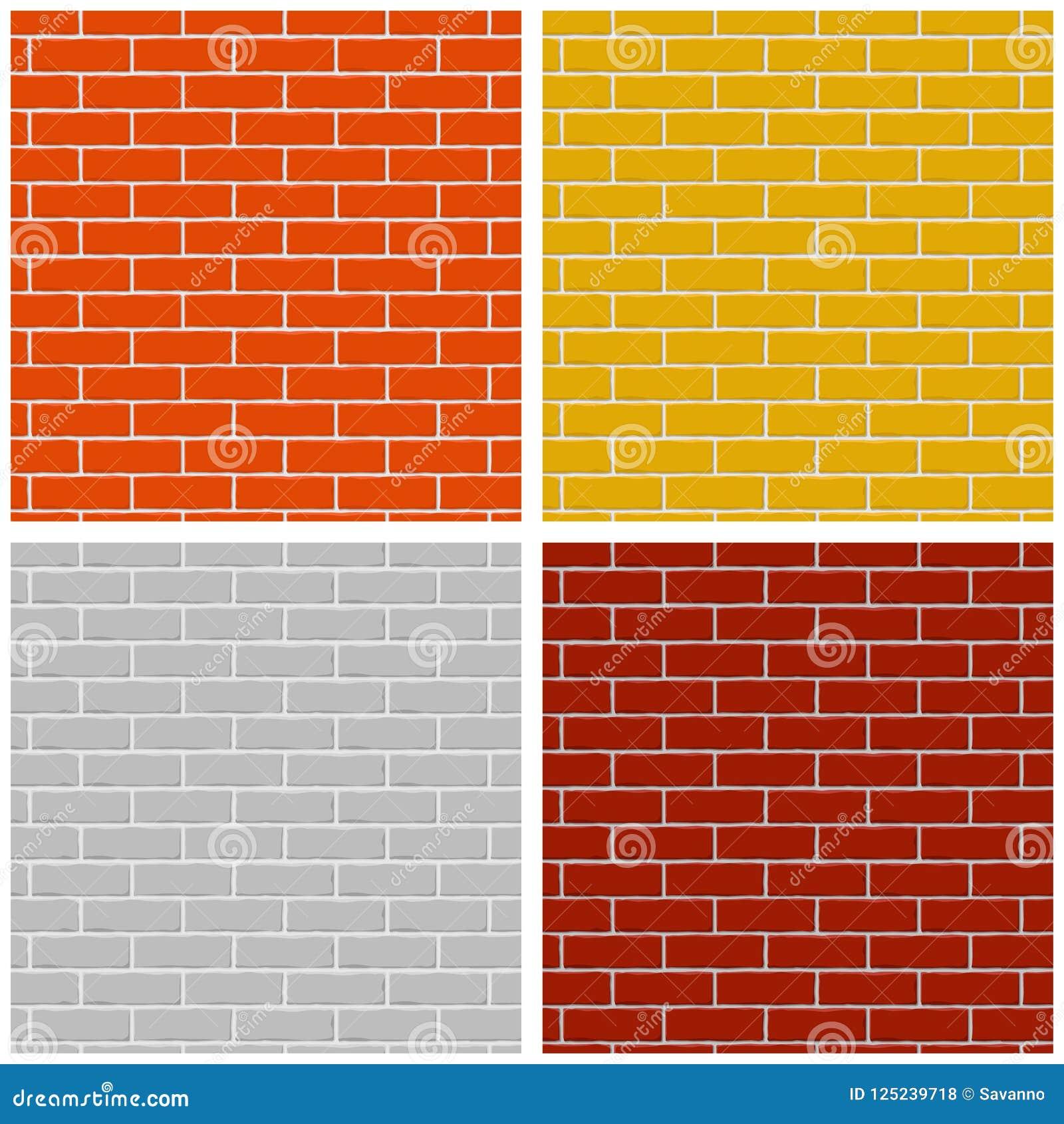 Bakstenen muur Reeks gekleurde naadloze patronen