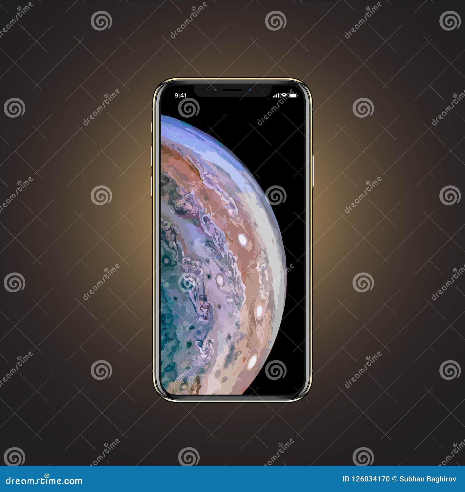 Baku, Azerbaijan - 12 de septiembre de 2018: iPhone X S aislado en fondo del oro