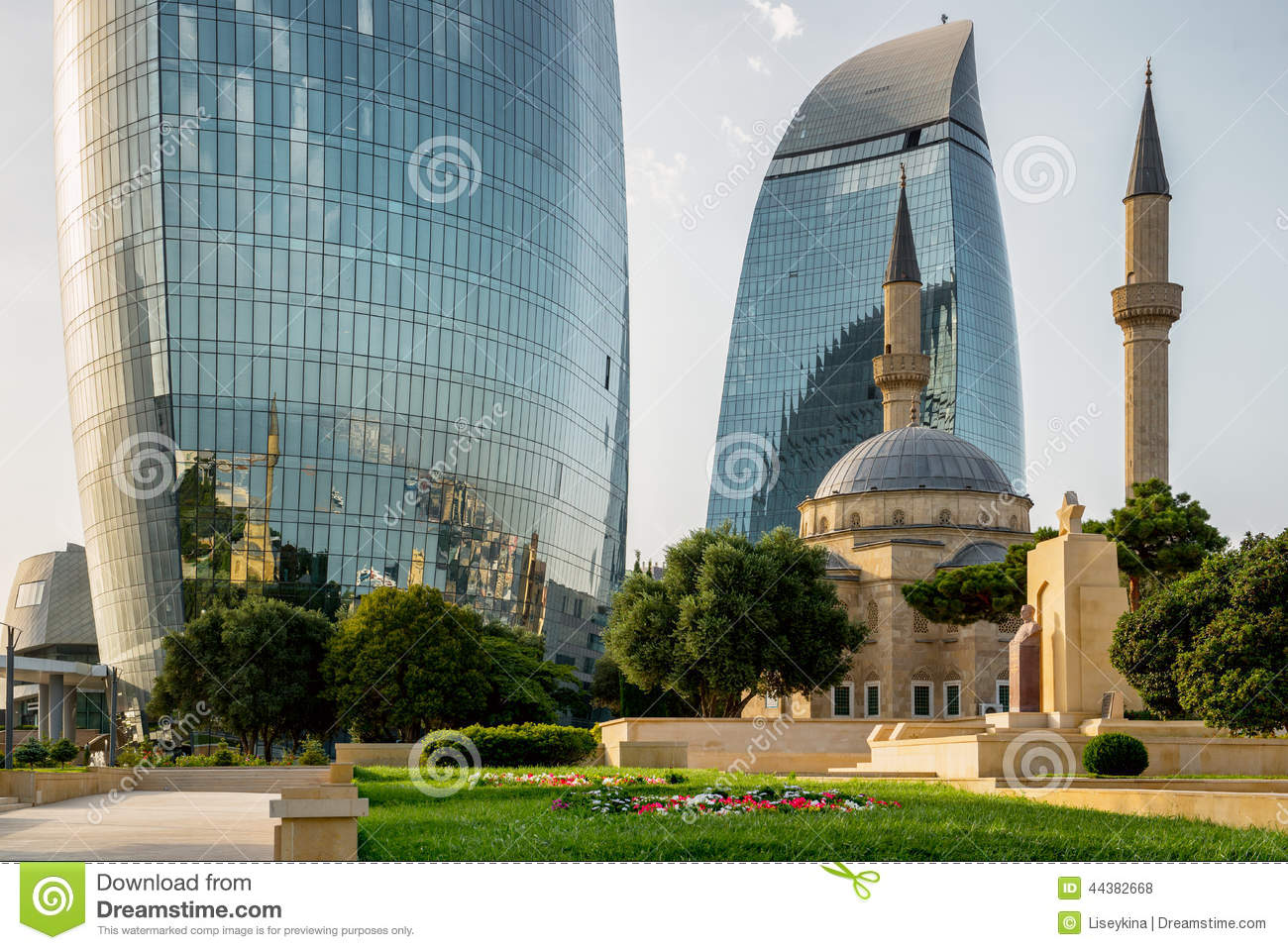 Baku azerbaijan july 24 city view of the capital of for Great modern architecture