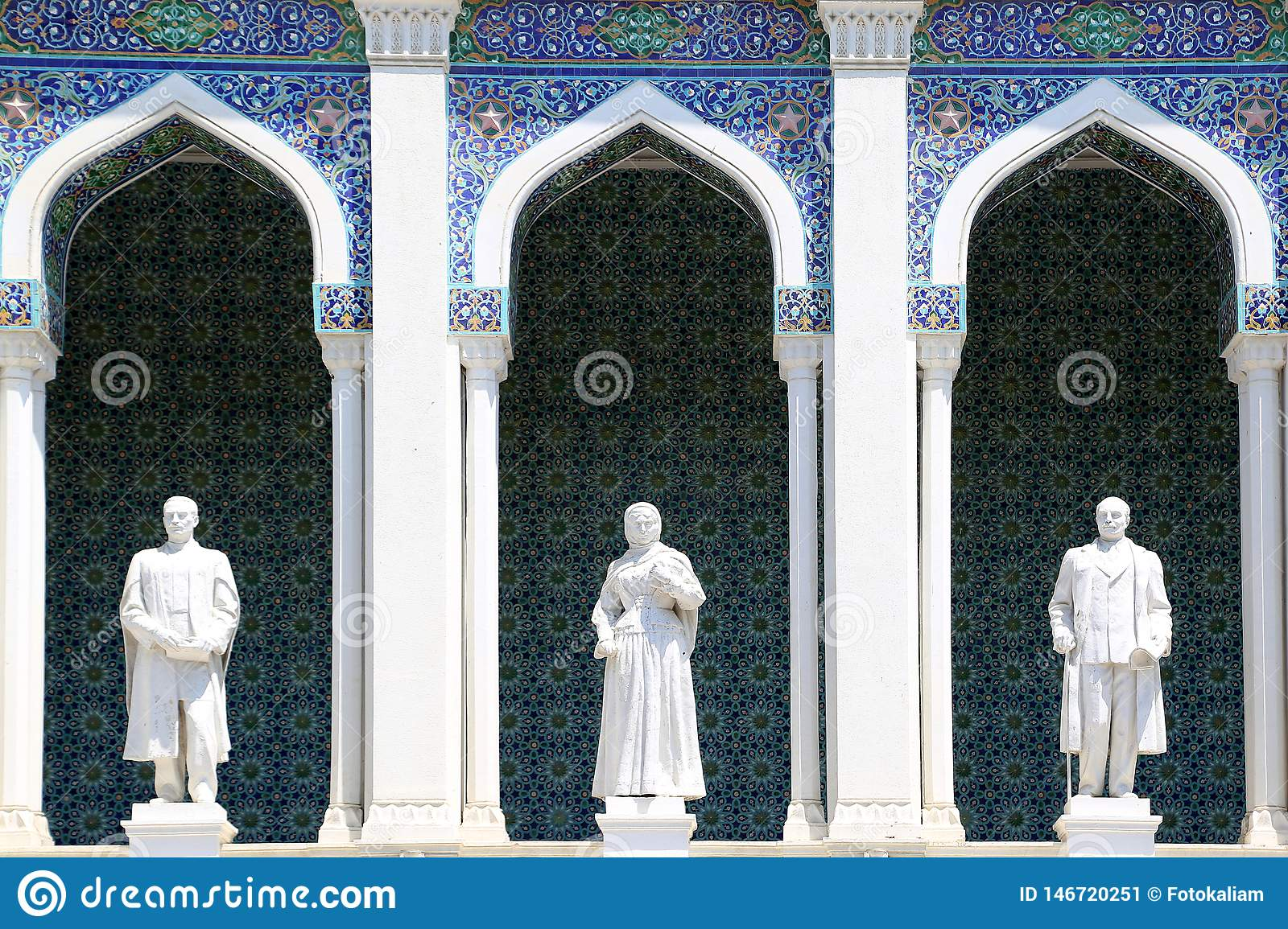 Sculptural images of Azerbaijani writers on the facade of the Museum of Azerbaijani Literature