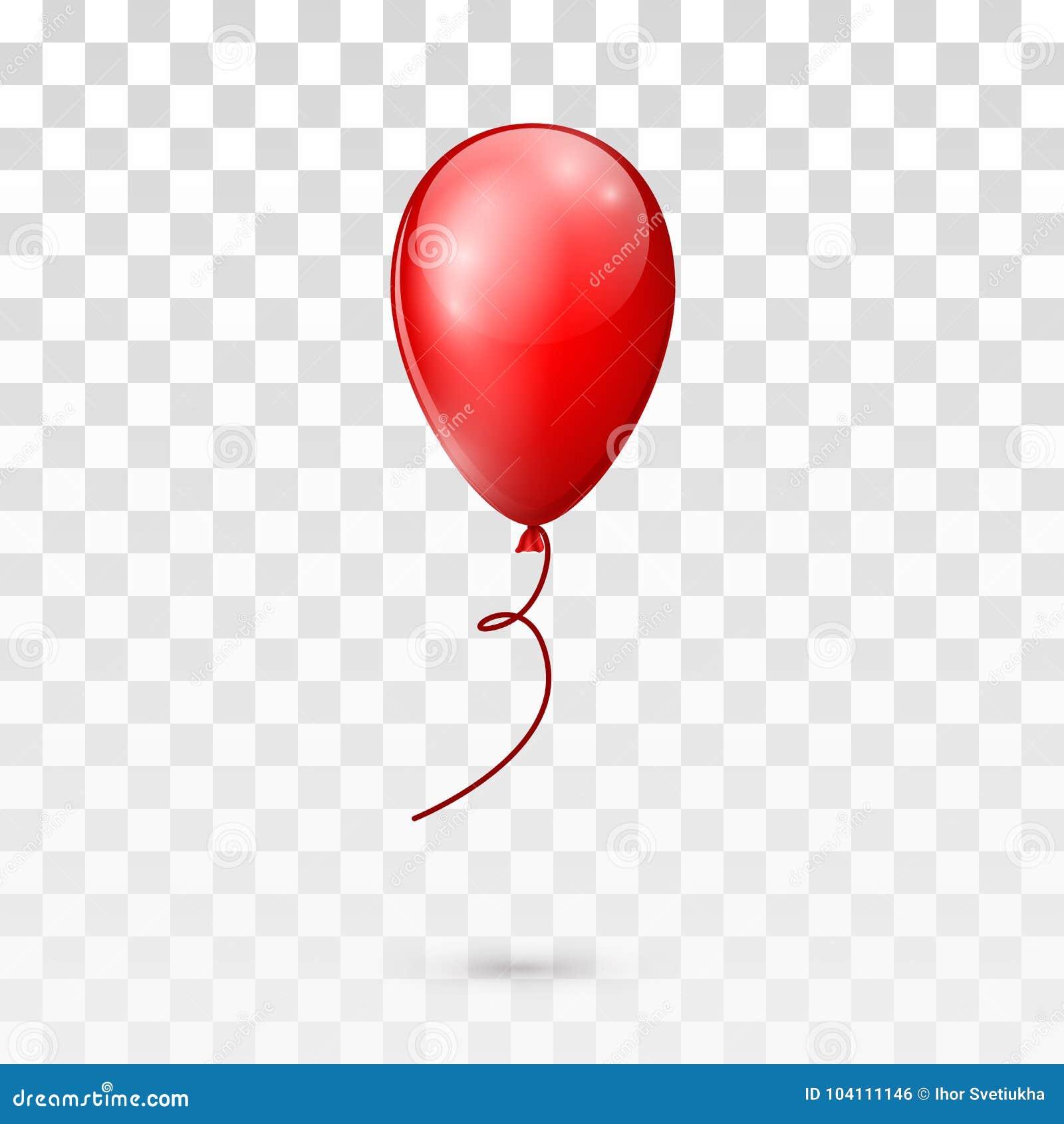 Balão lustroso vermelho isolado no fundo transparente Ilustração do vetor