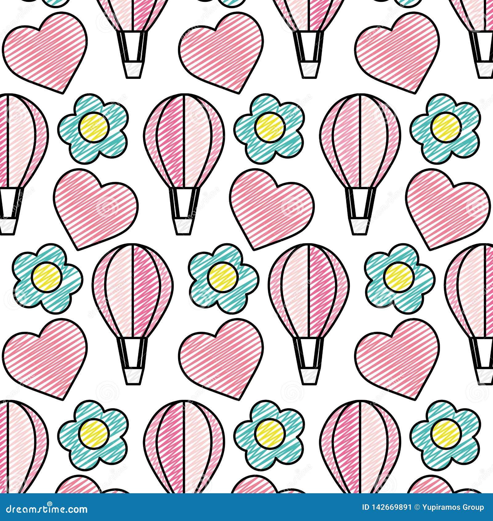 Balón de aire del garabato con el fondo exótico de la flor