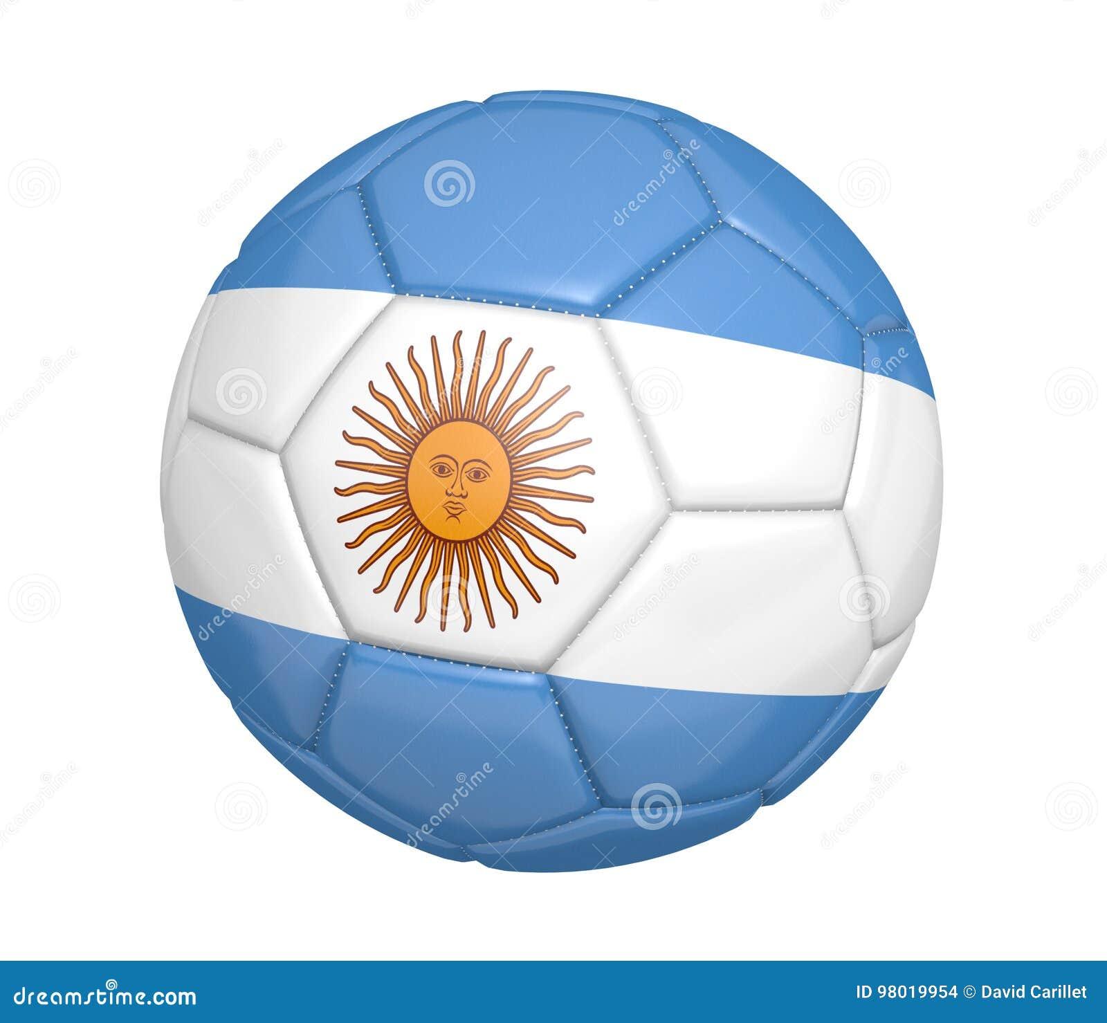 Balón de fútbol aislado, o fútbol, con la bandera de país de la Argentina
