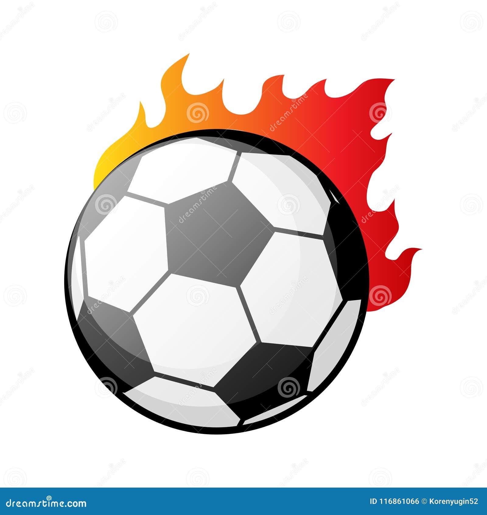 Balón De Fútbol Ardiente En El Ejemplo Del Vector De Las Llamas ... 173b4eda58e57