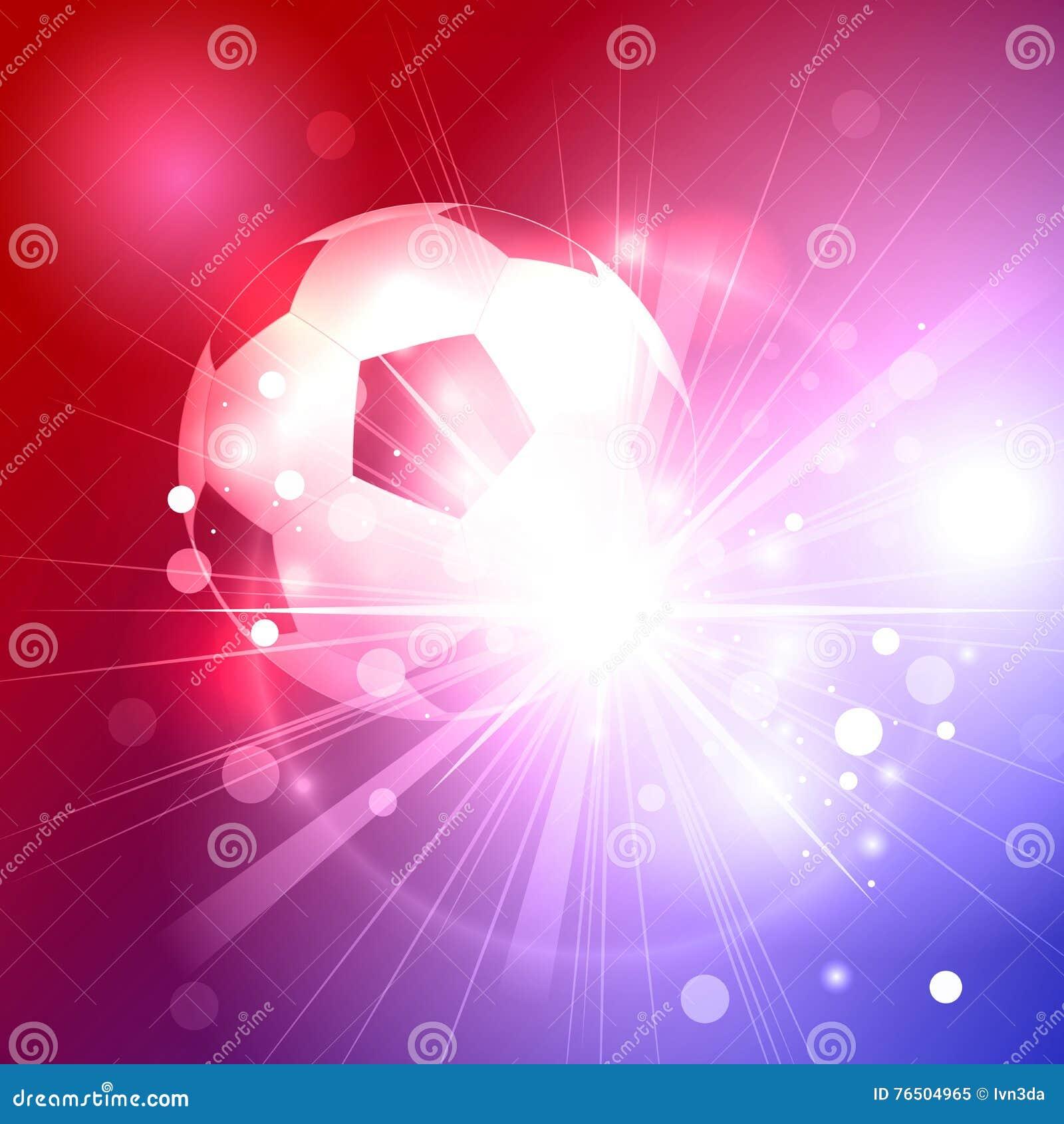Balón de fútbol en los rayos en brillar intensamente hermoso fondo azul y  rojo 909b7d075d2e0