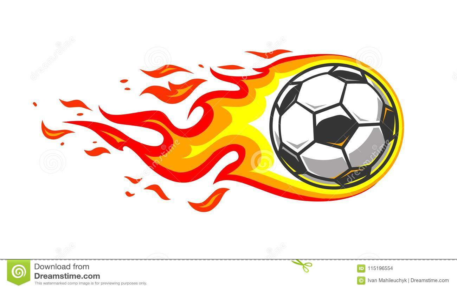 Balón De Fútbol En Llamas Ardientes Del Fuego Ilustración del Vector ... 709b01f9d2926