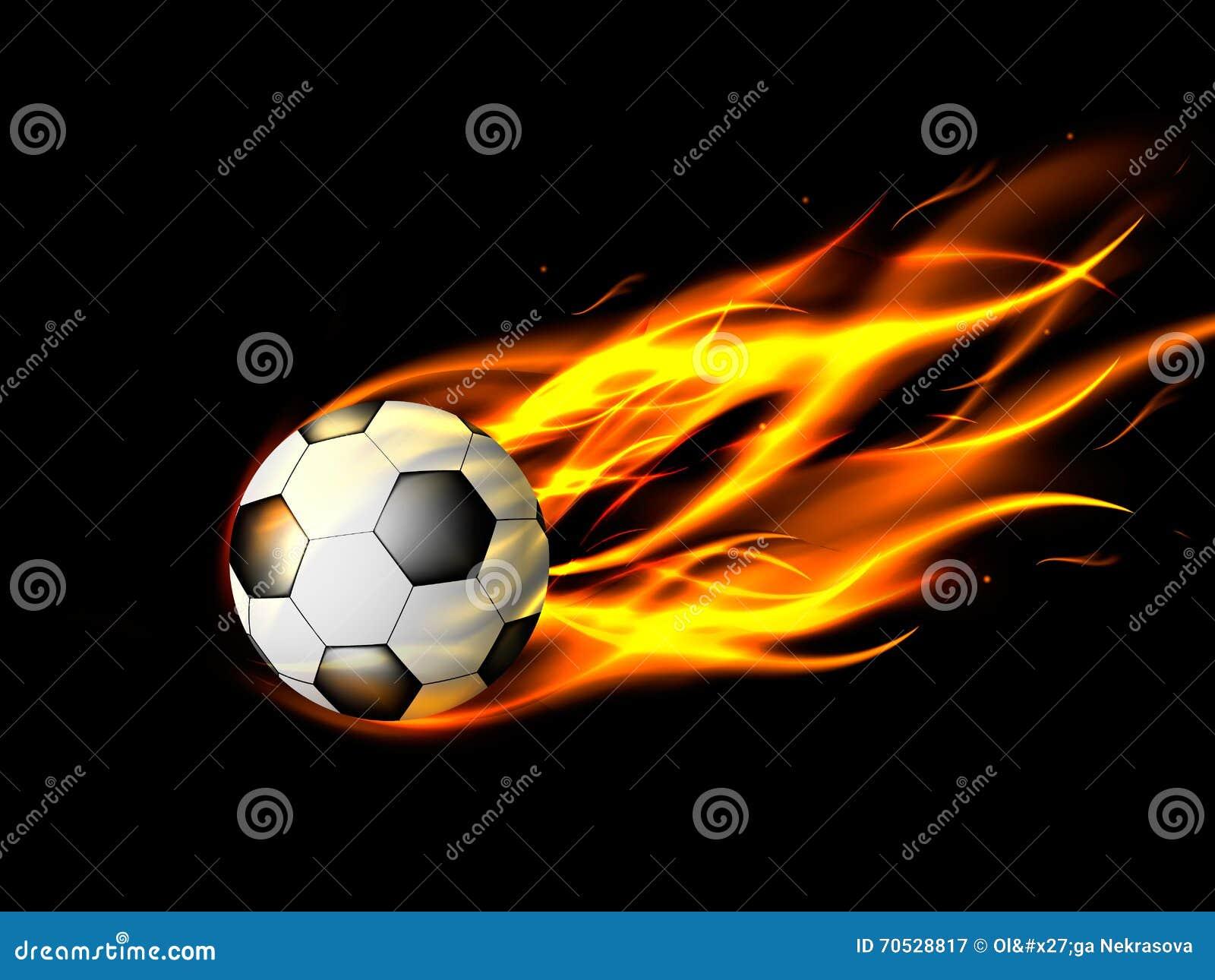 Balón De Fútbol En Llamas En Fondo Negro f5ea524ec6e20