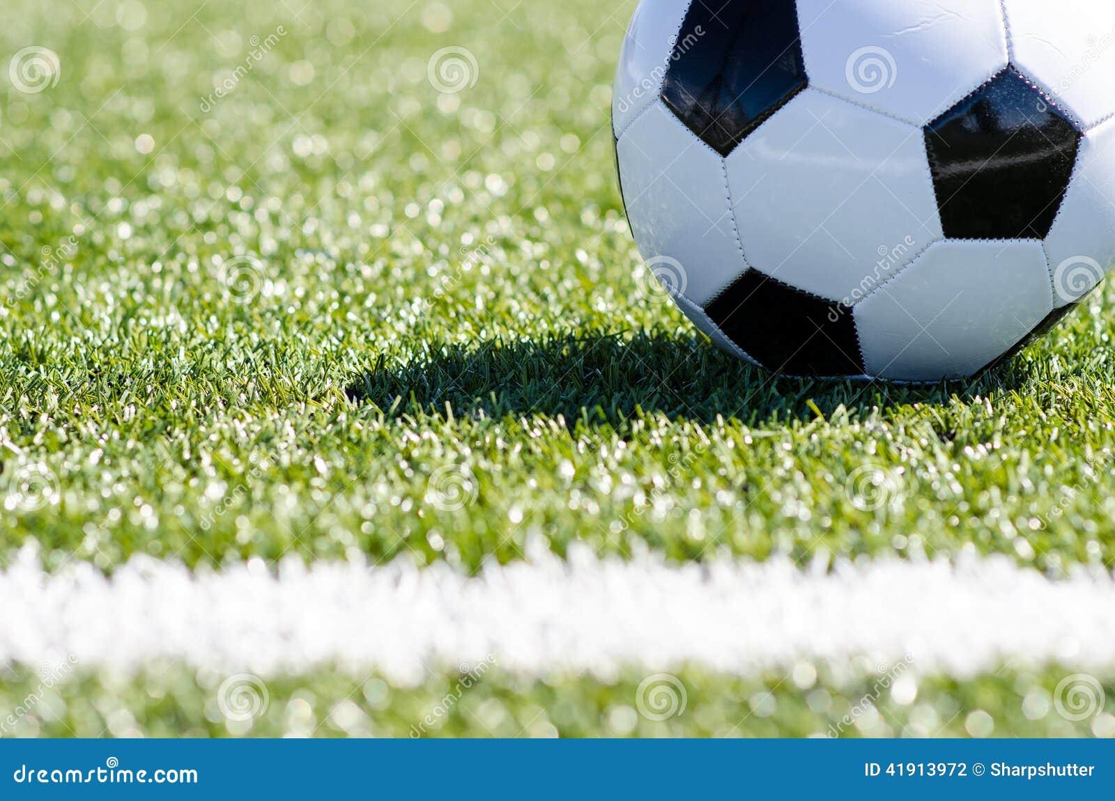 Balón de fútbol que se sienta en hierba cerca de la línea