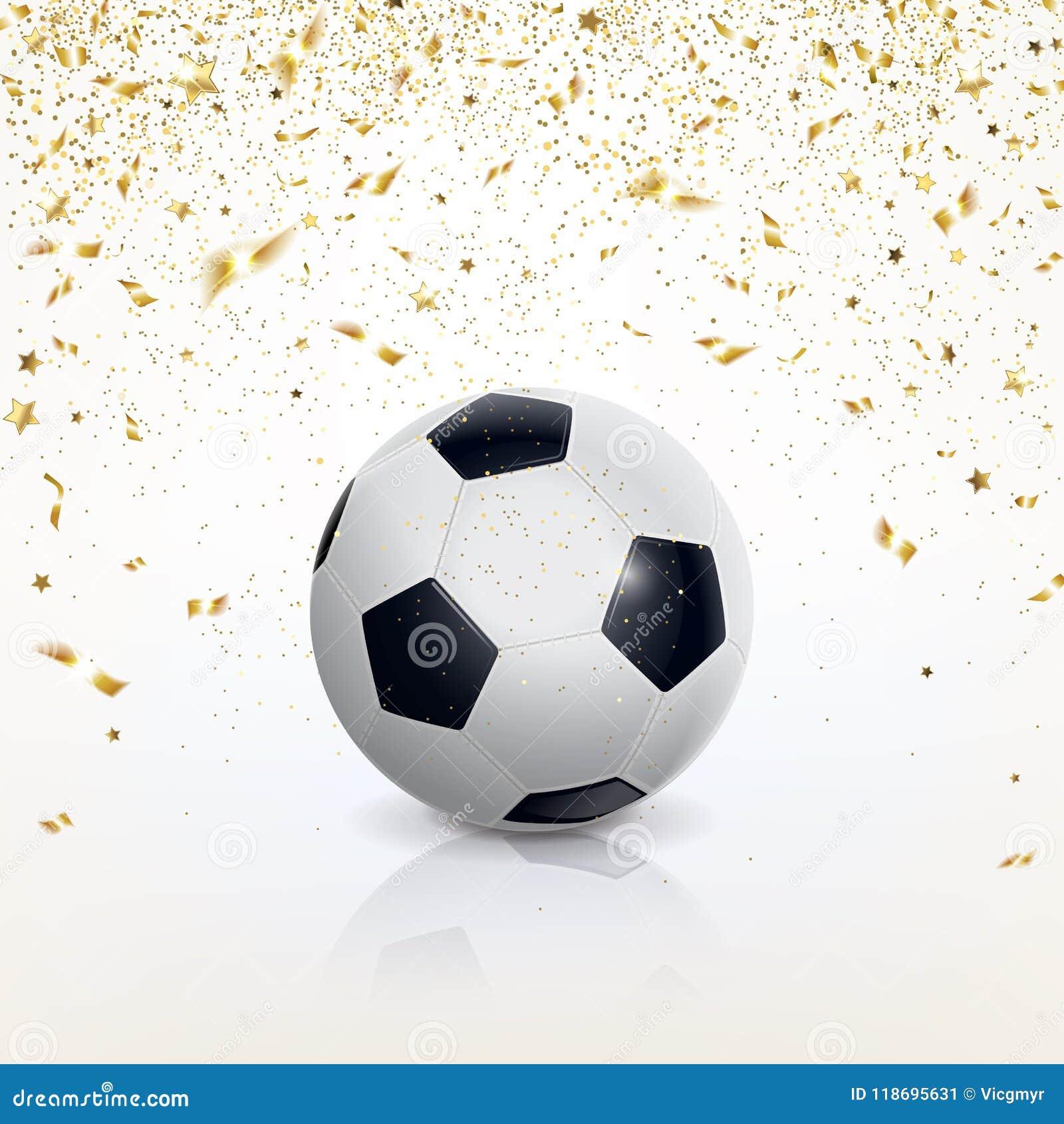 Balón De Fútbol Y Confeti De Oro Ilustración del Vector ... 0aead5ab04a70