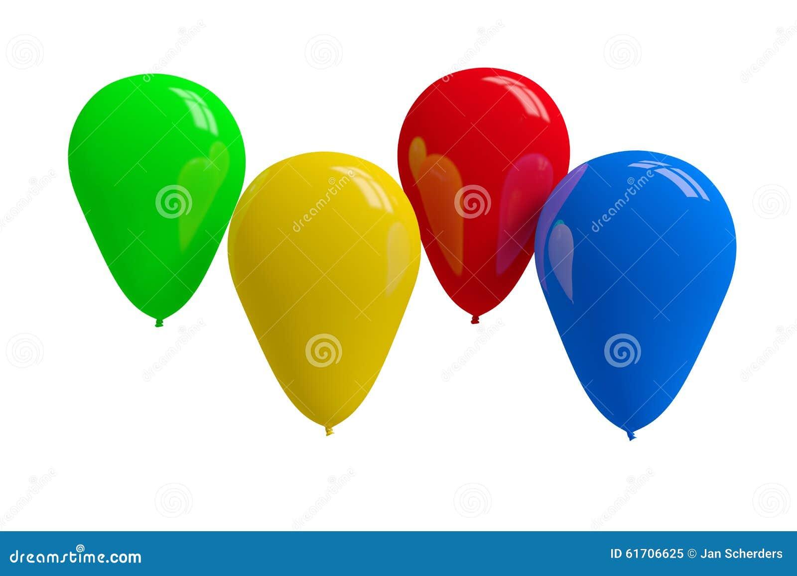 Balões coloridos no branco