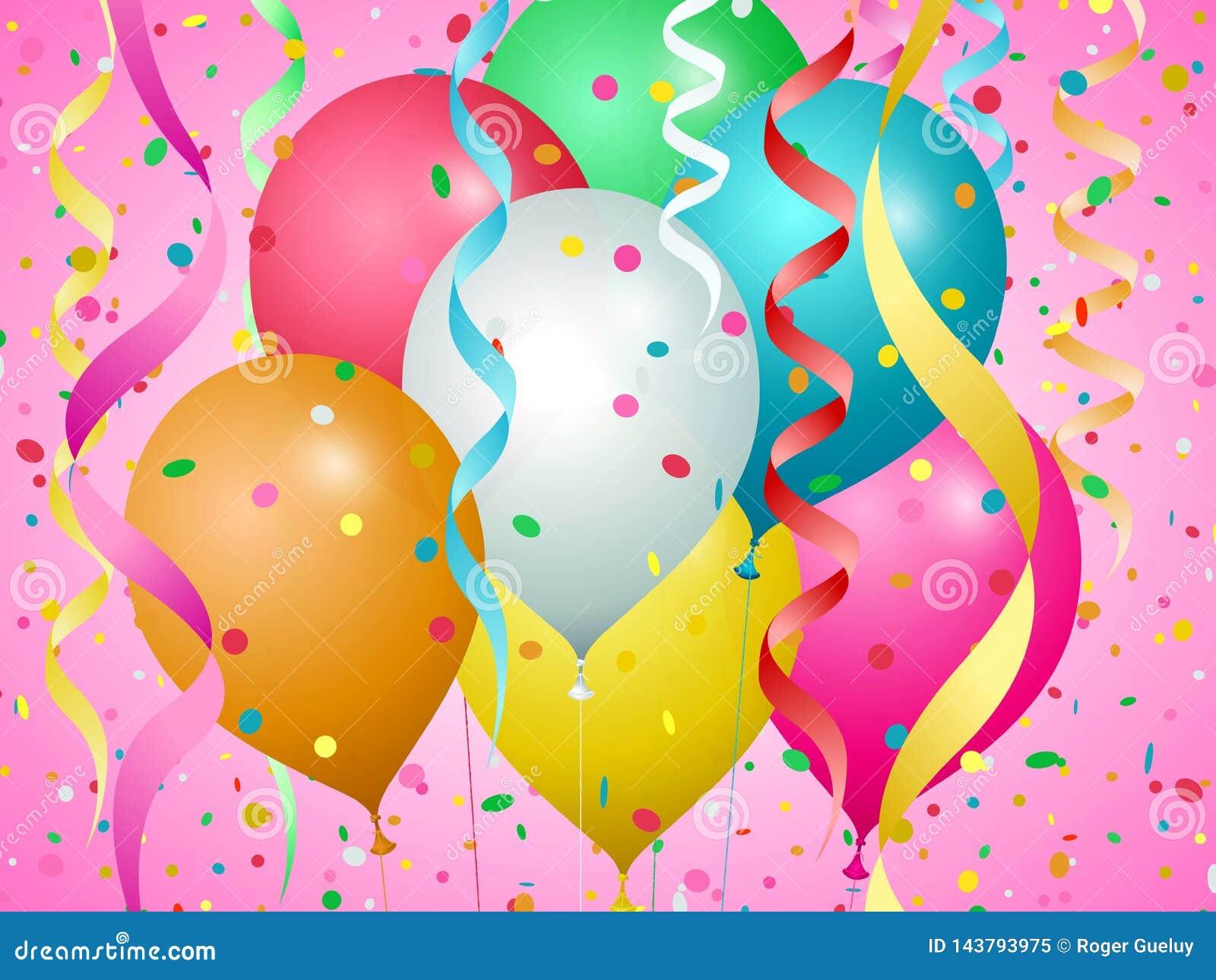 Balões, confetes e flâmulas de cores diferentes