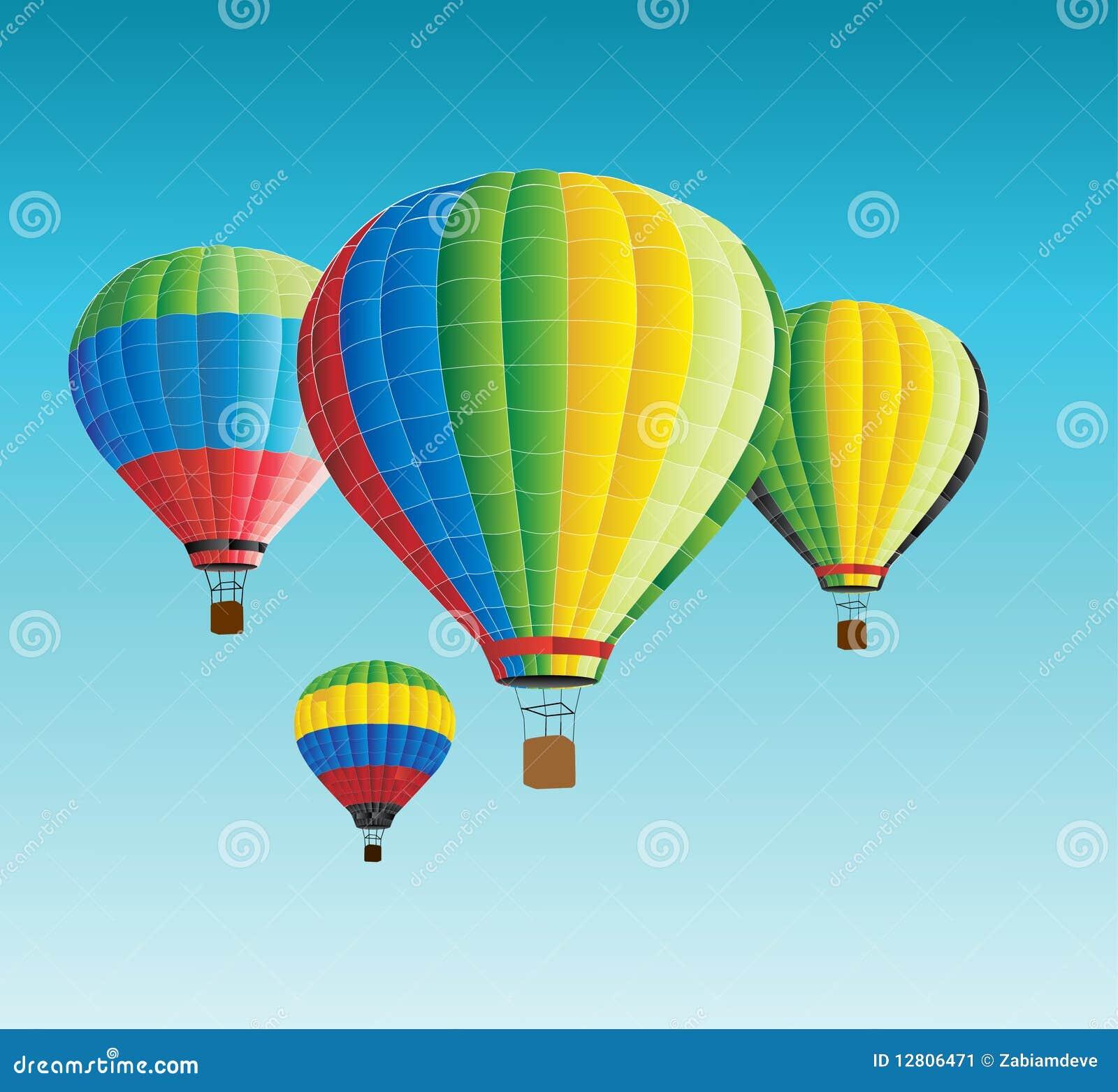 Balões de ar quente do vetor no céu