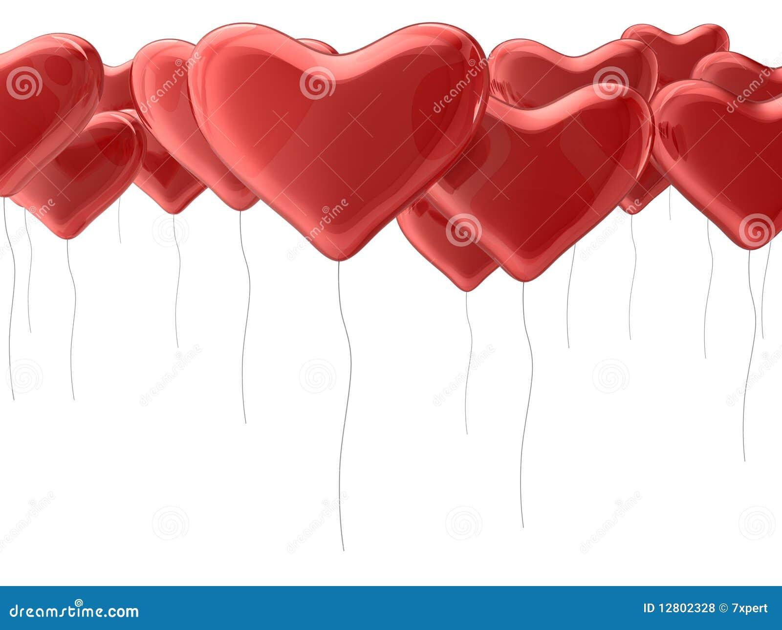 Balões vermelhos do coração