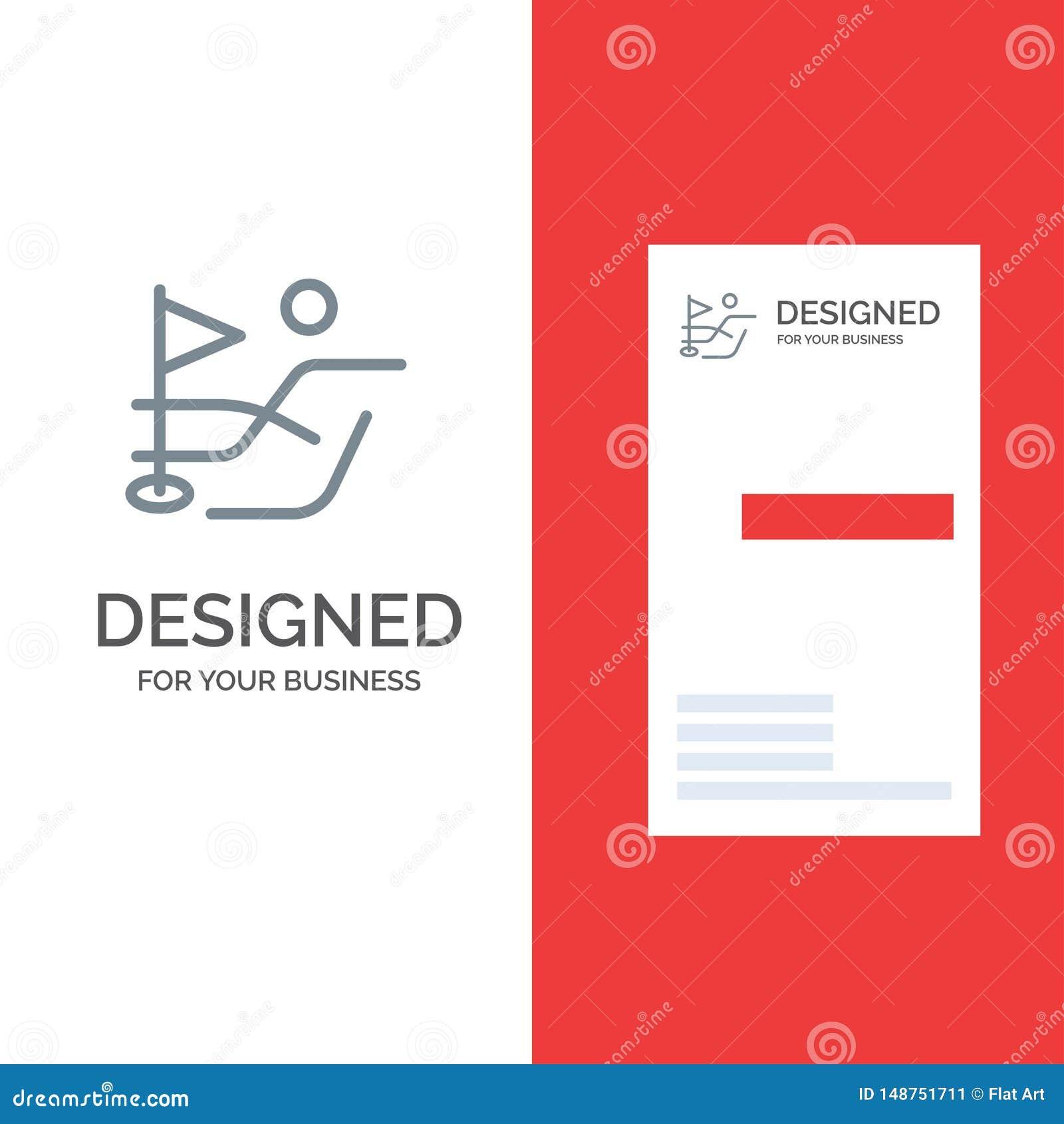Bal, Gebied, Golfsport Grey Logo Design en Visitekaartjemalplaatje