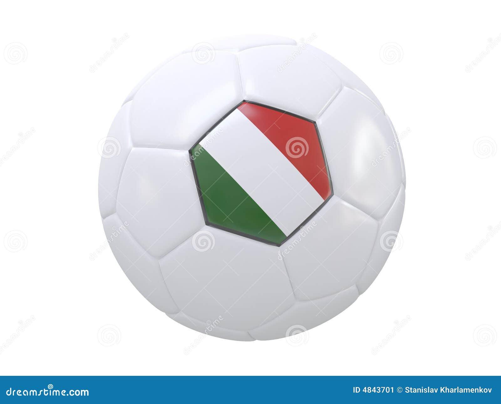 3d scène van de voetbalbal met vlag van italië