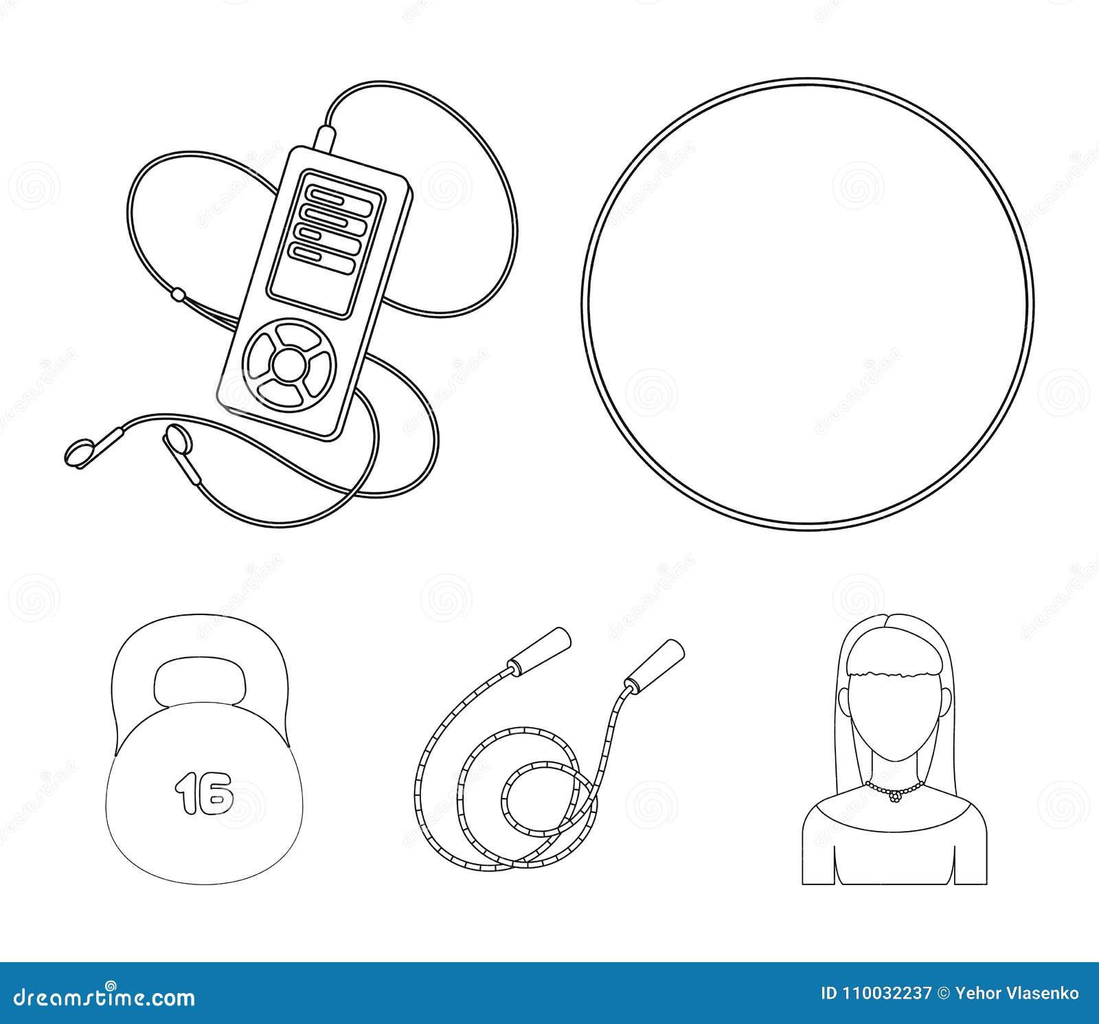Bal, speler en ander materiaal om op te leiden Gymnastiek en van de Training vastgestelde inzameling pictogrammen in vector het s
