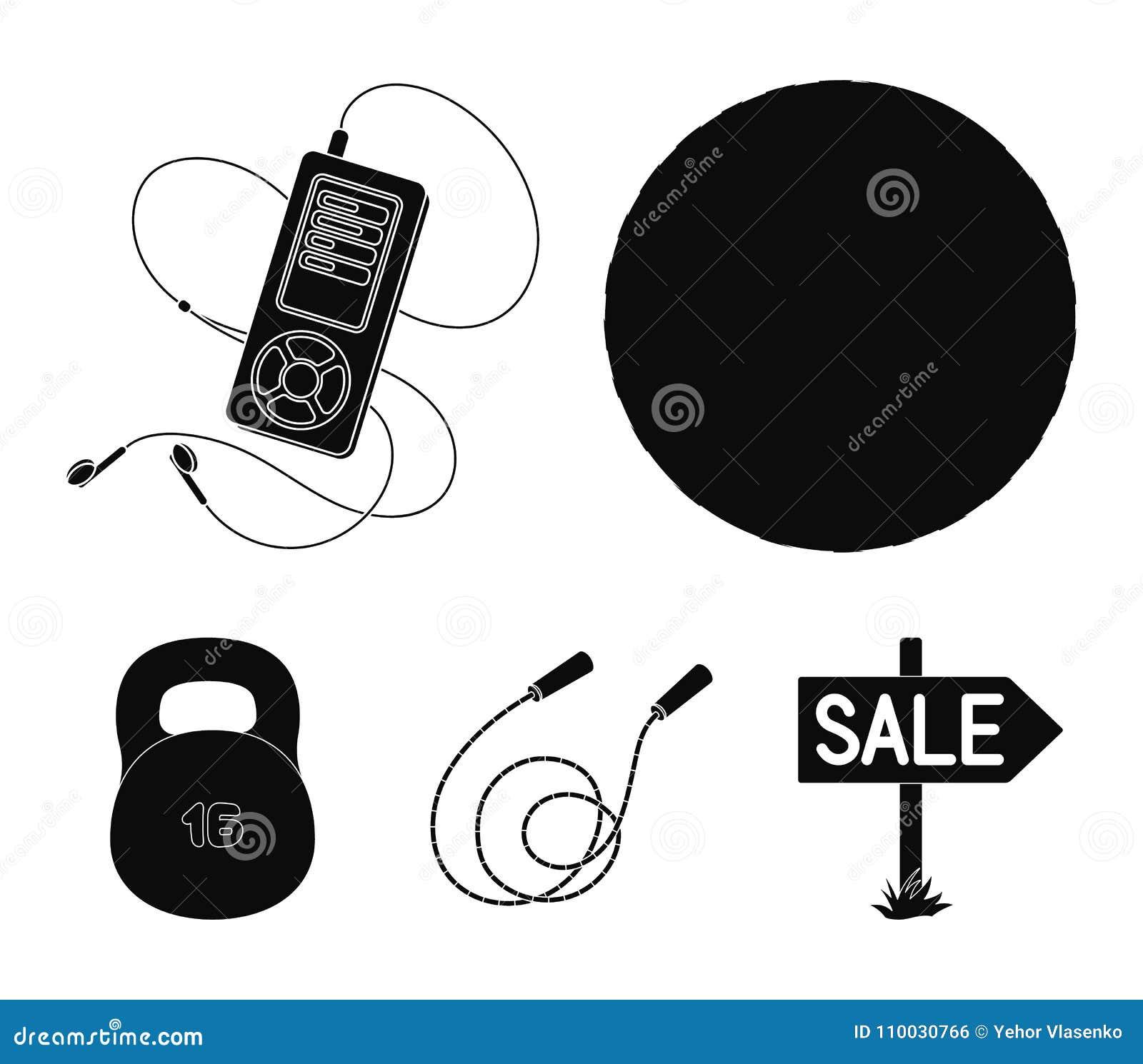 Bal, speler en ander materiaal om op te leiden Gymnastiek en van de training vastgestelde inzameling pictogrammen in de zwarte vo