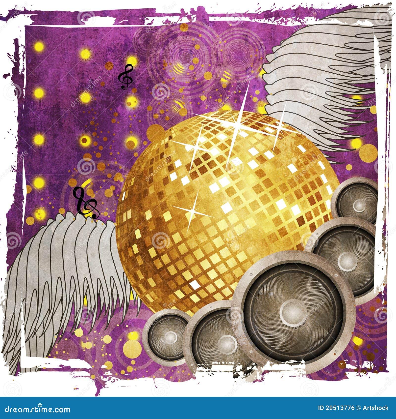 Bal van de Grunge de gouden disco met vleugels
