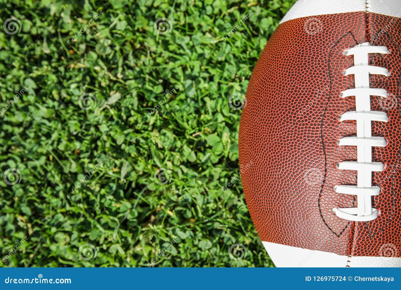 Bal voor Amerikaanse voetbal op vers groen gebiedsgras, hoogste mening