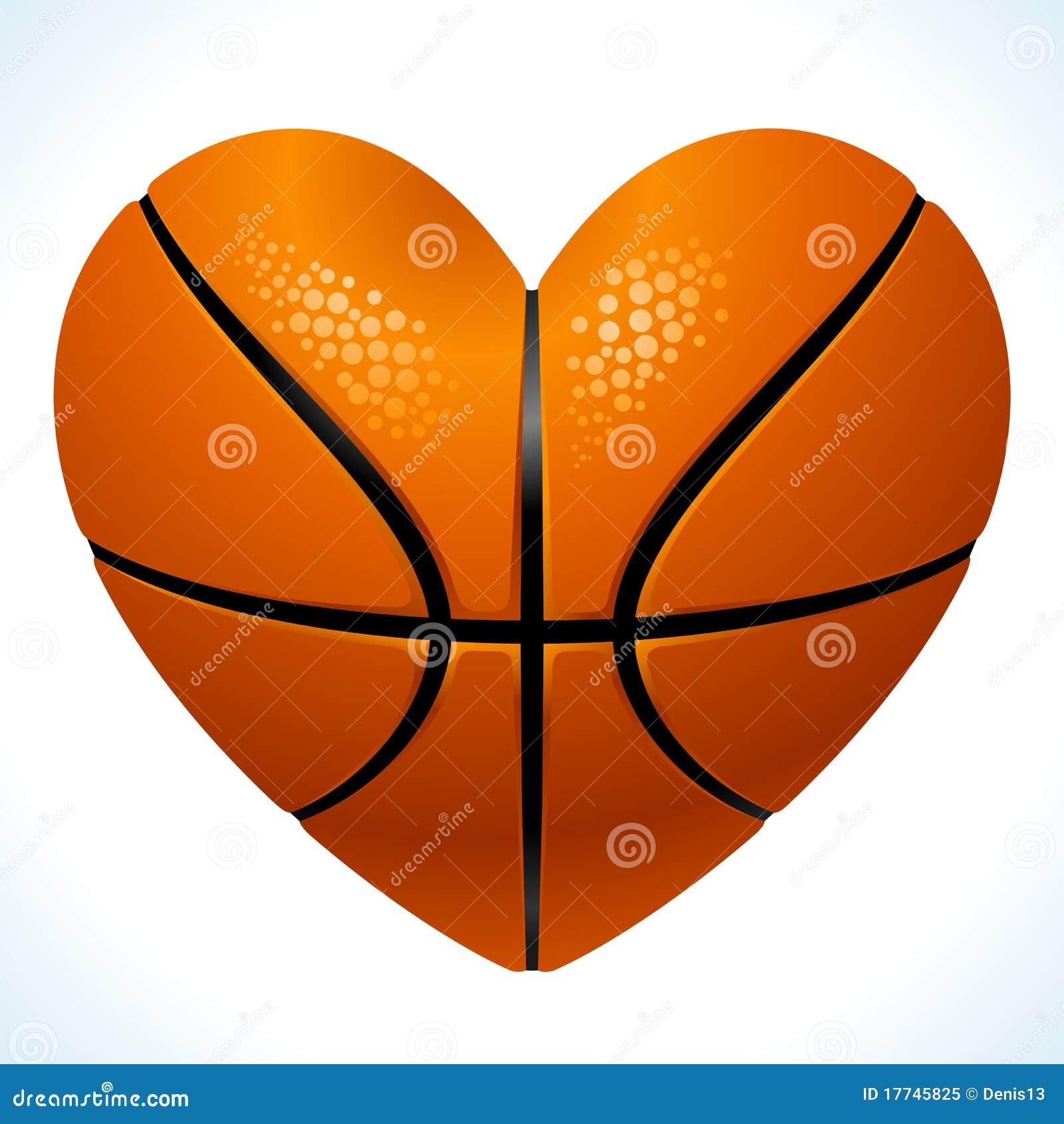 Bal voor basketbal in de vorm van hart
