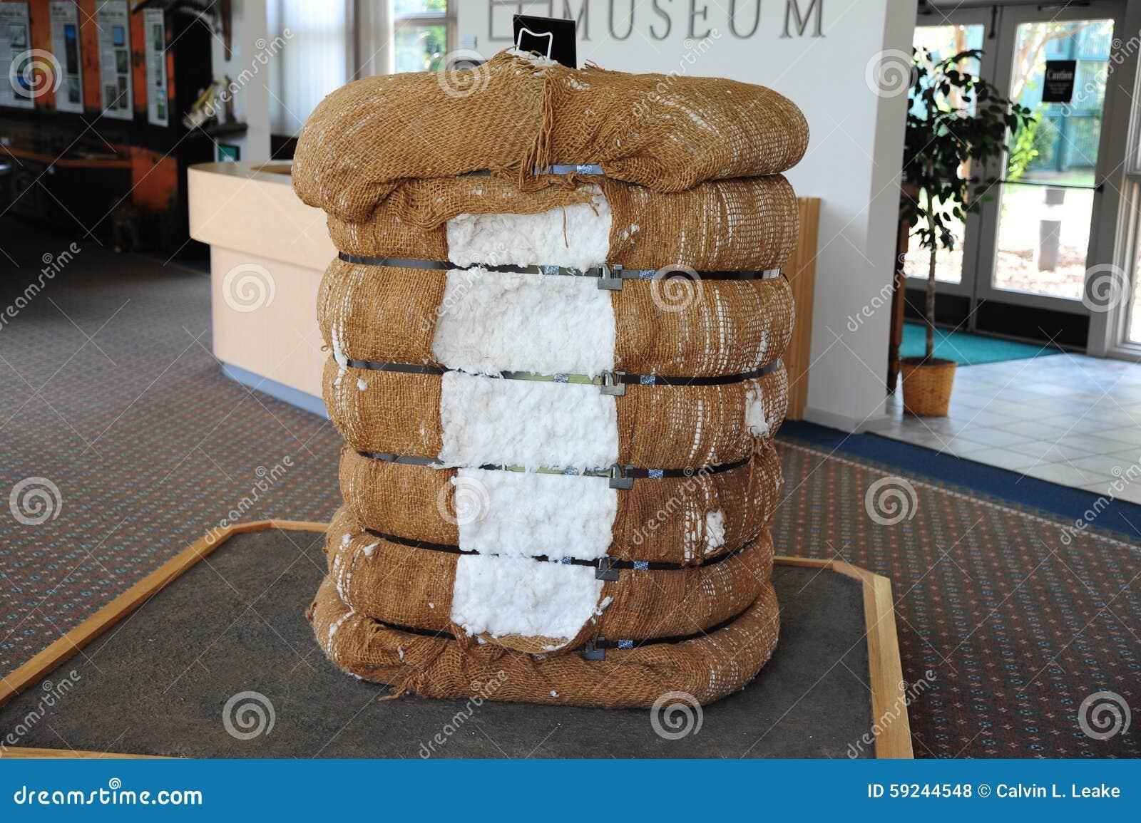 Bala del objeto expuesto del algodón en el museo del Tunica en Mississippi del norte