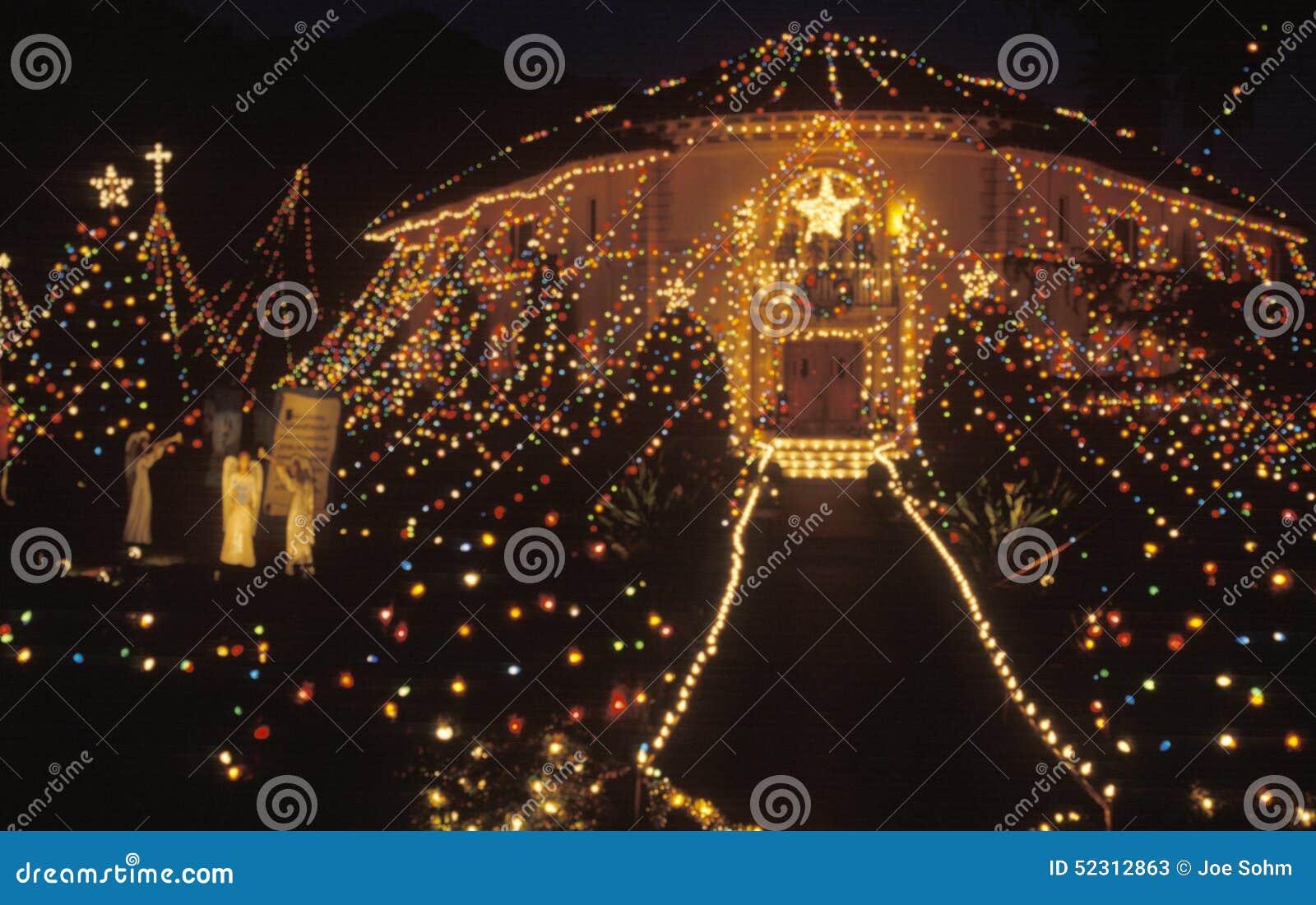 Balad House Decorated With Christmas Lights At Night, Pasadena ...