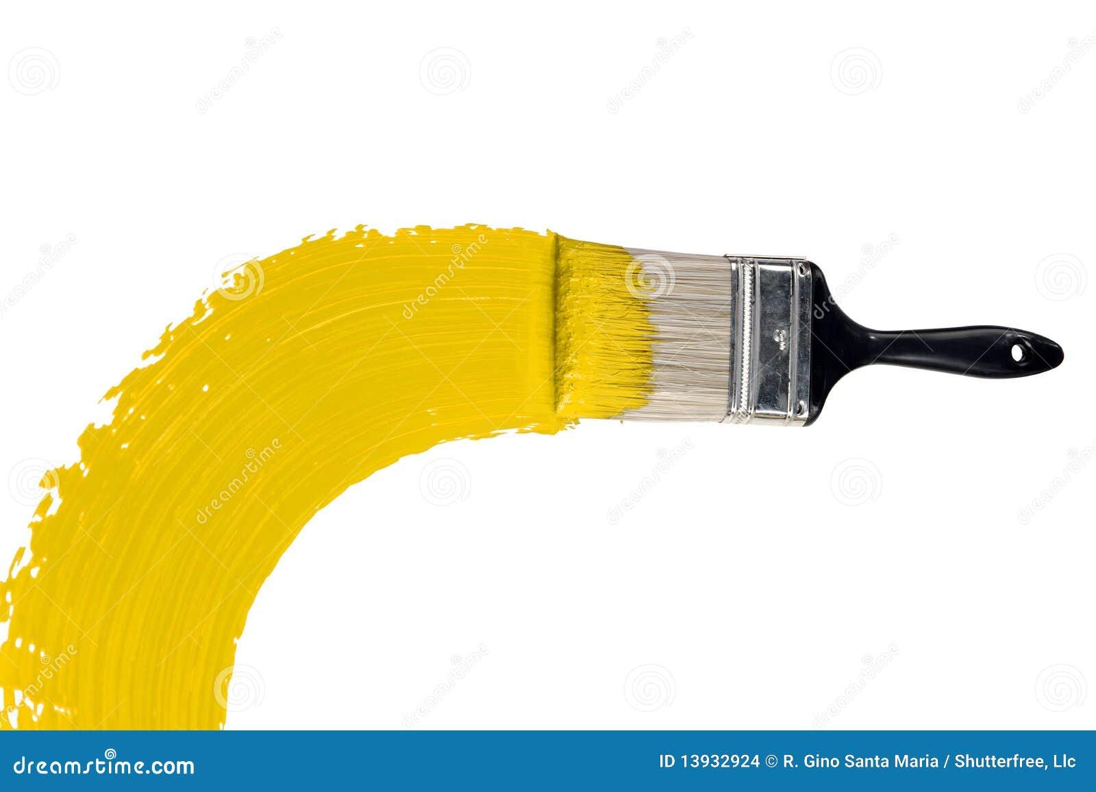 Balai avec la peinture jaune
