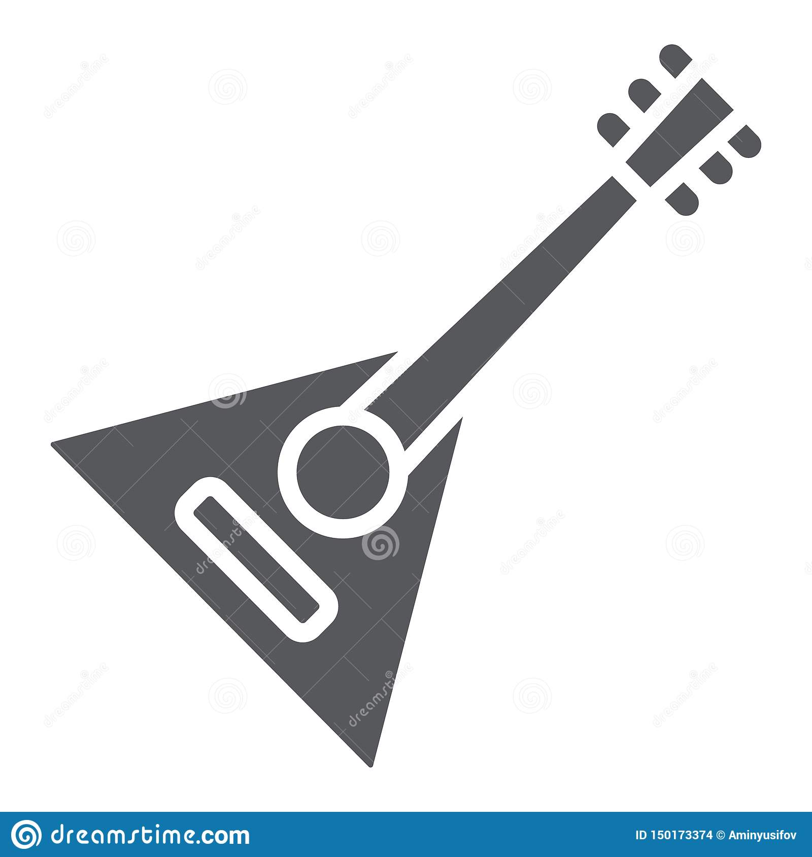 Balalaika glyph icon, music and string, folk russian instrument sign, vector graphics, a solid pattern on a white