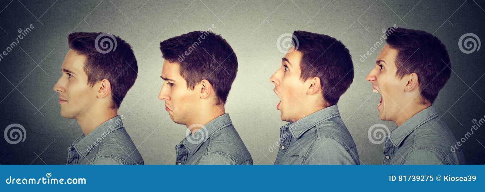 Balanço de humor Homem com expressões diferentes da cara das emoções