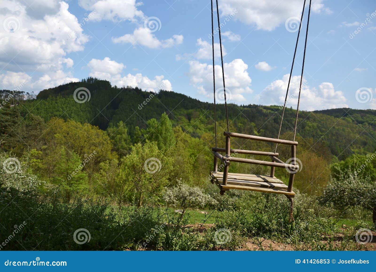 Balanço De Madeira Vazio Da Corda Na Natureza Foto de Stock Imagem  #2F629C 1300x957