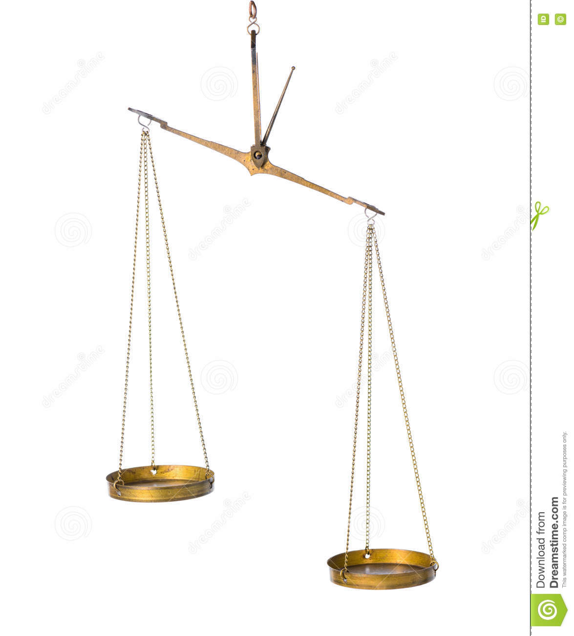 Balance abstract concept of vintage brass scales is isolated on