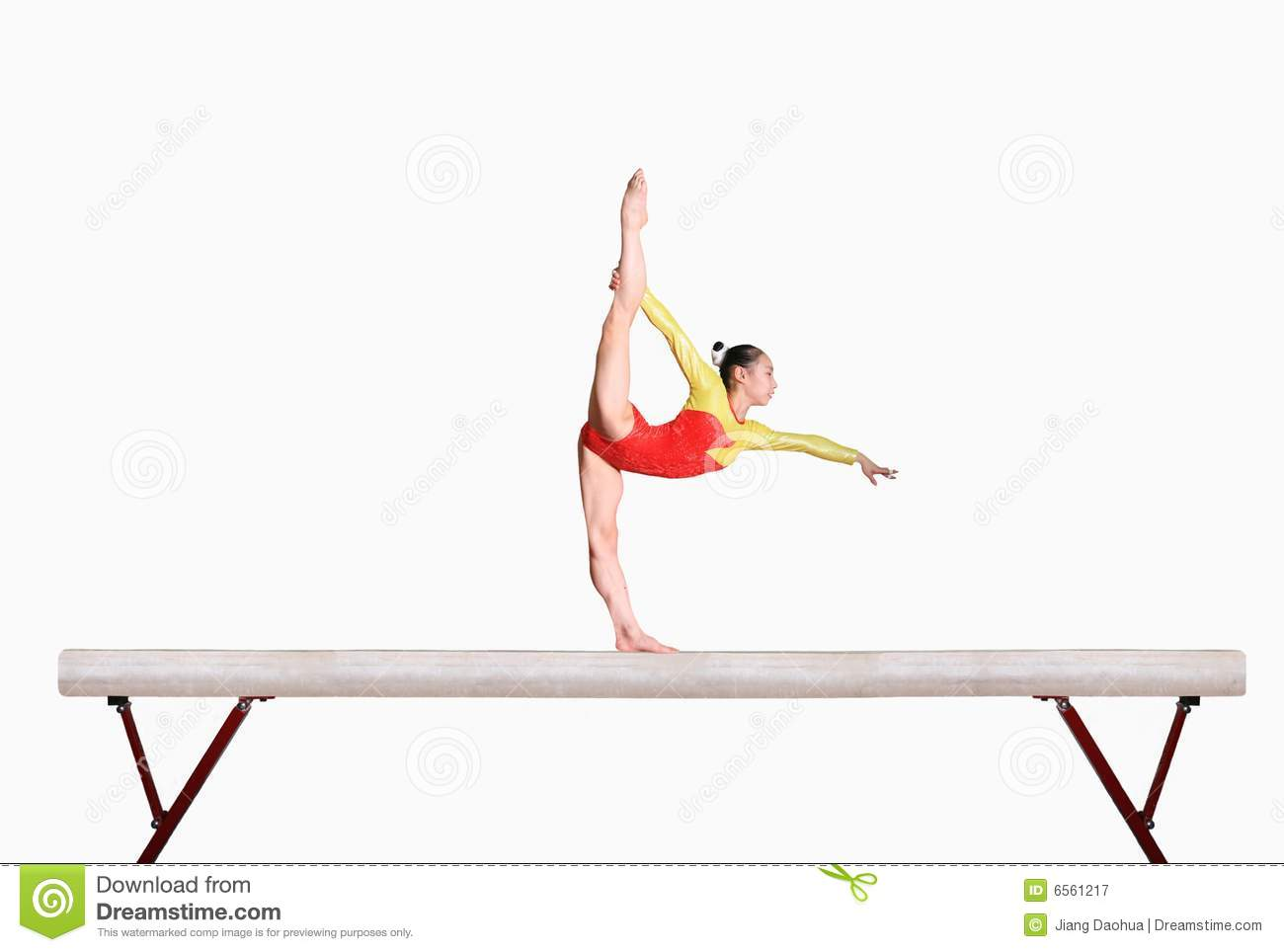 Chinese girl in gymnastics poses.