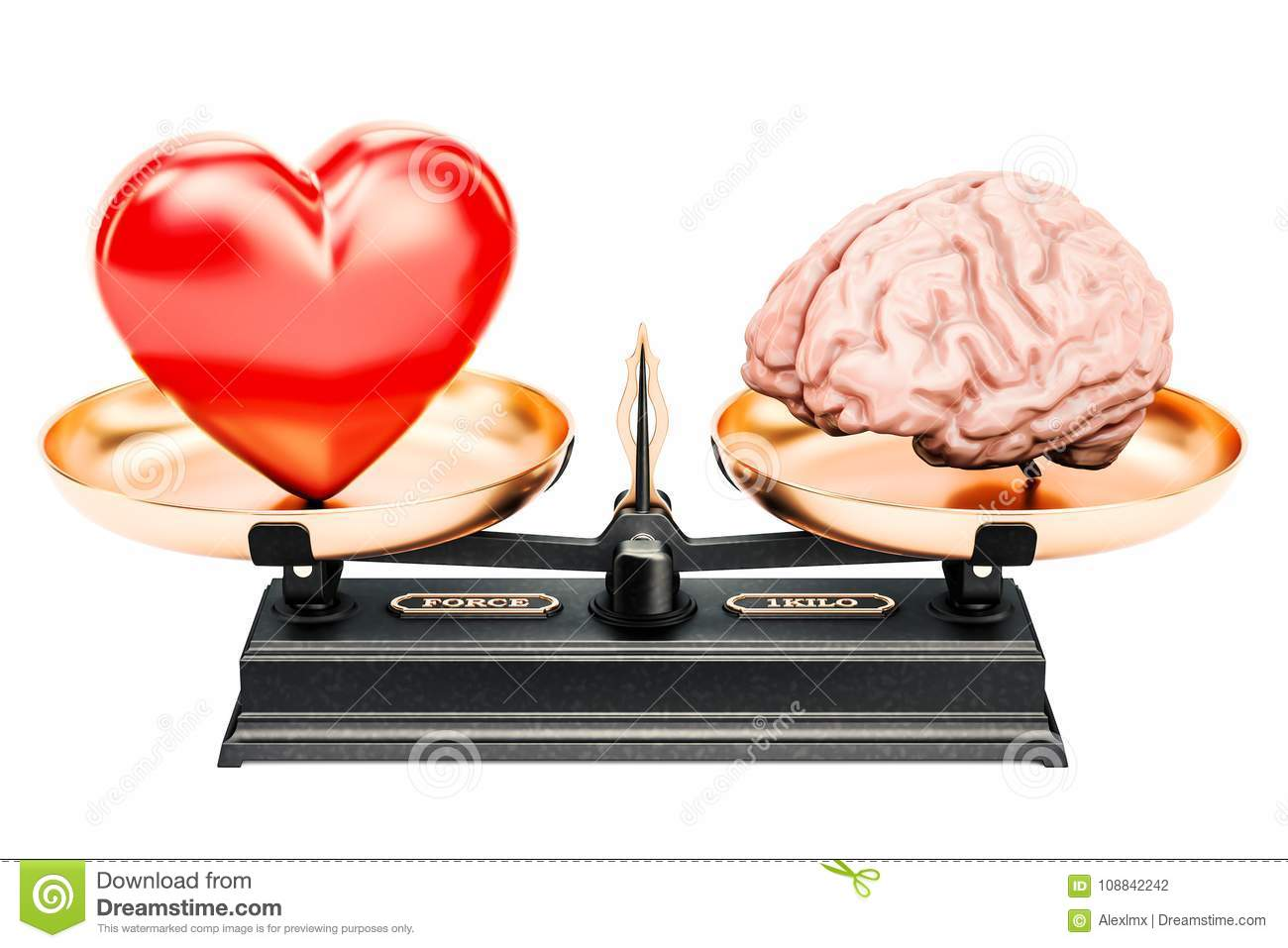 Balance concept, scales with heart and brain, 3D rendering