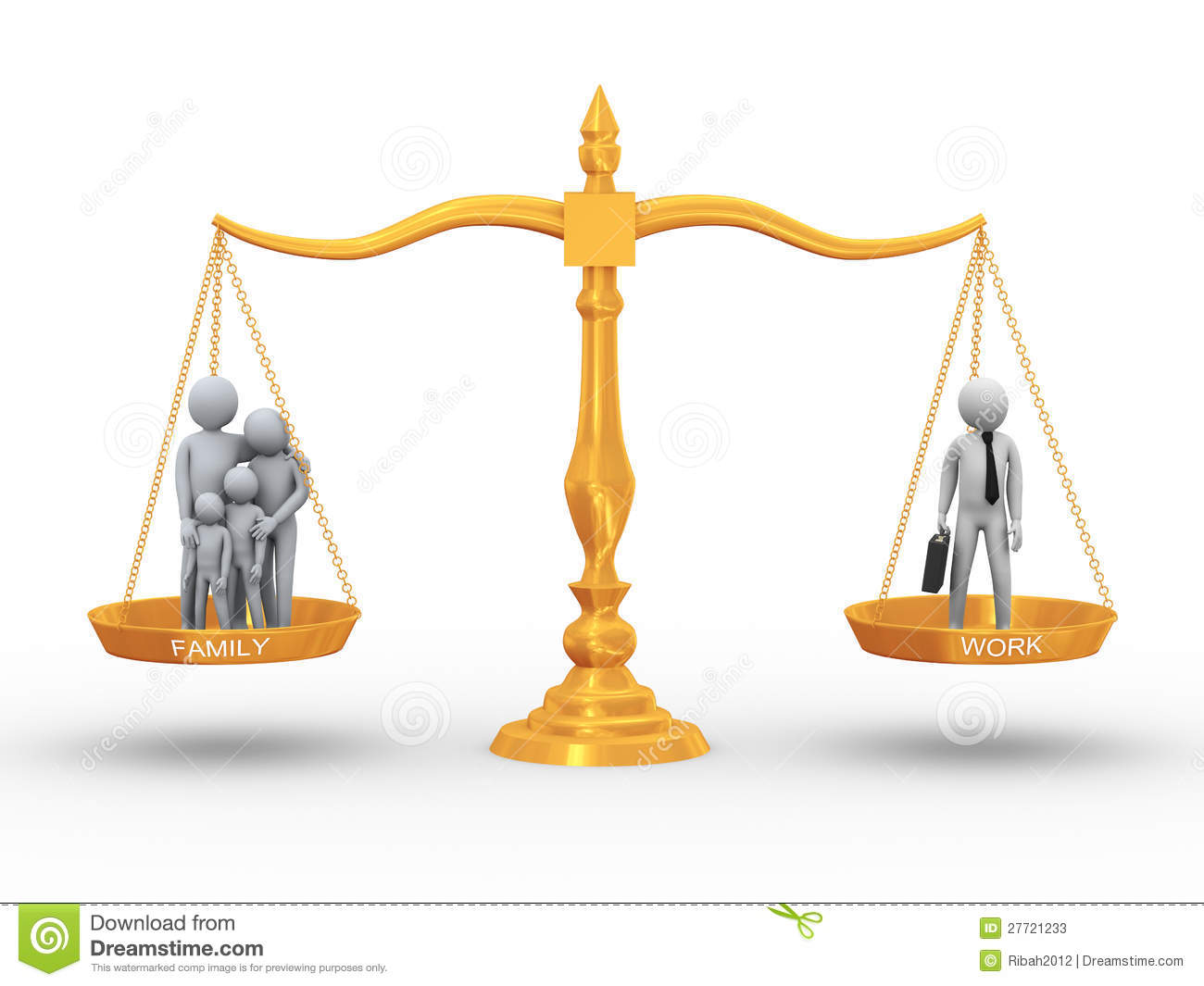 3d illustration of family members and working man on golden scale ...