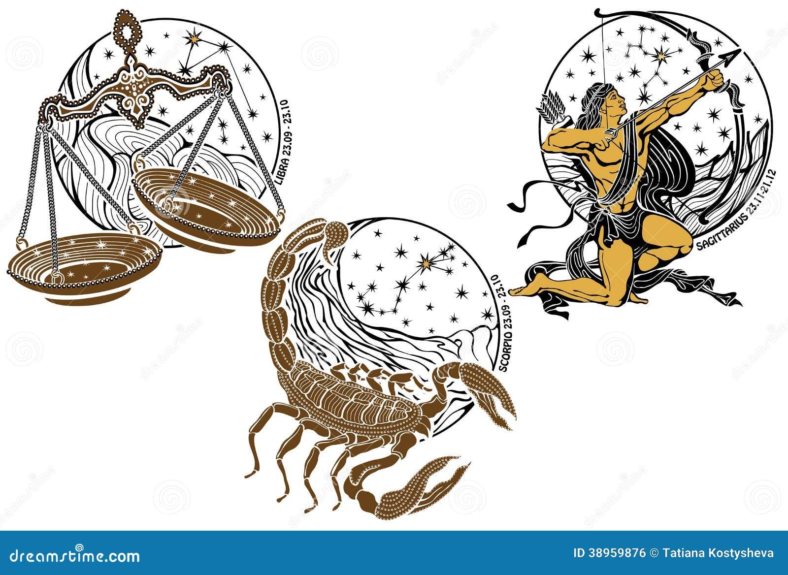 balance scorpion signe de zodiaque de sagittaire horoscope illustration de vecteur image. Black Bedroom Furniture Sets. Home Design Ideas