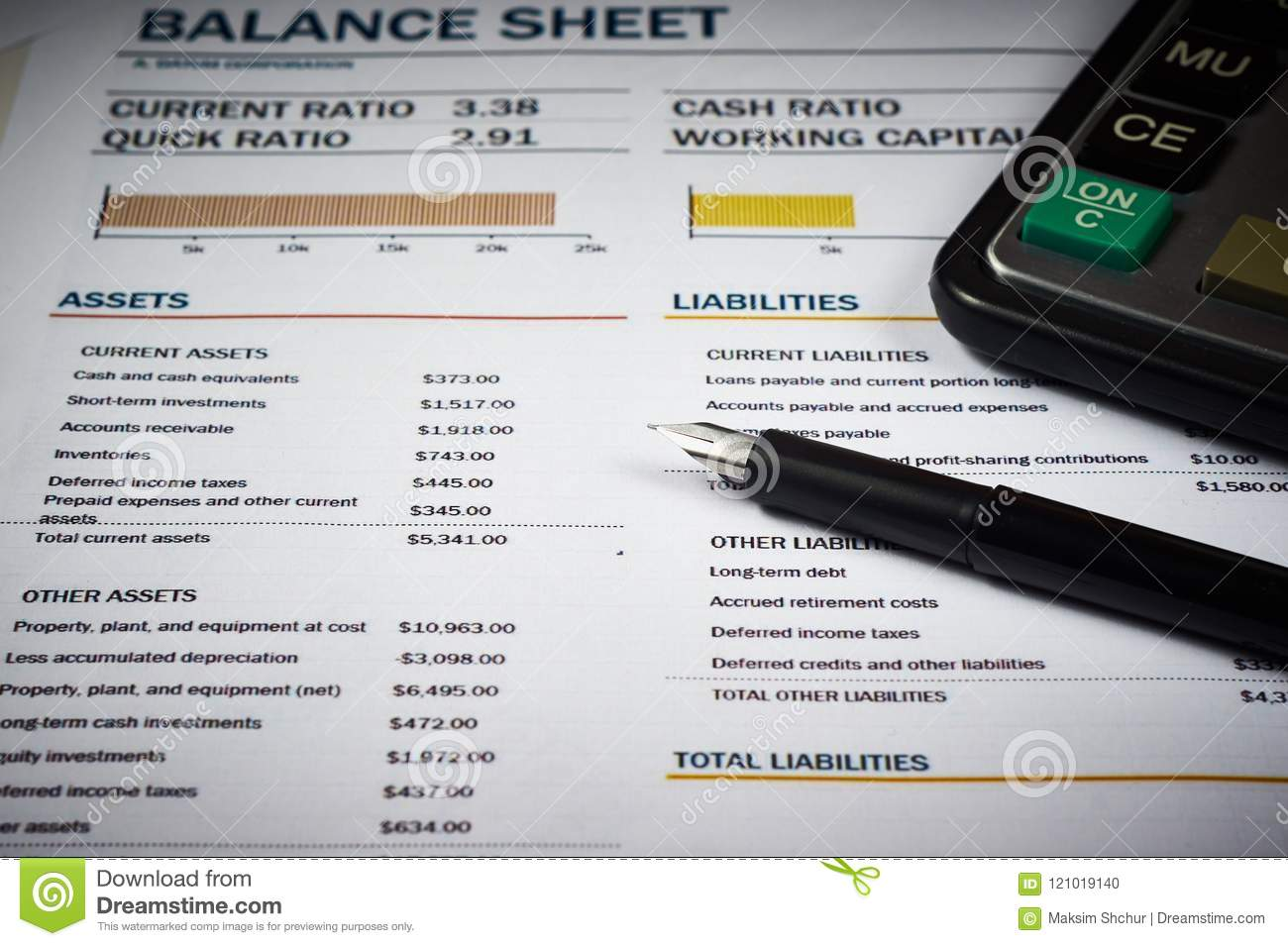 balance sheet and diagram stock photo image of accounts 121019140