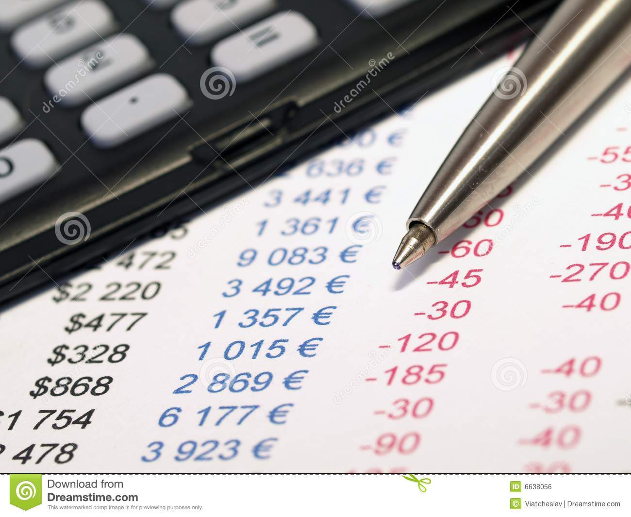 balance sheet with pen and calculator stock photo image of paper