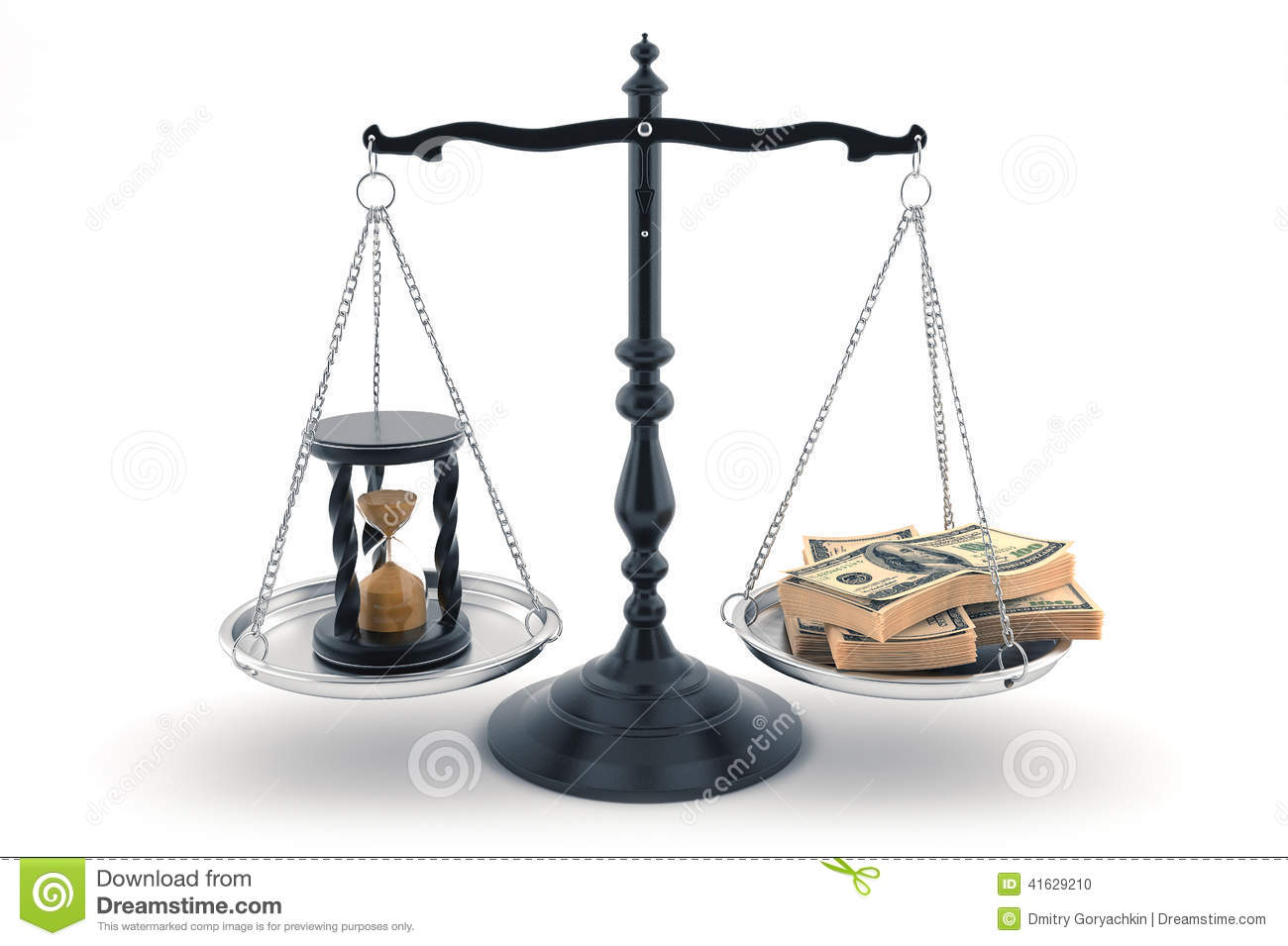 Balance With Time And Money Upon Its Scales Stock Photo ...
