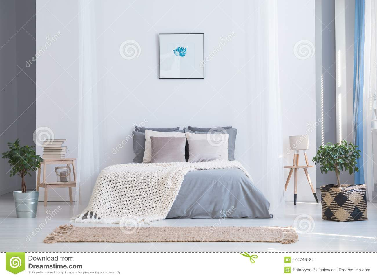 Balanced Bedroom Interior With Plants Stock Photo Image Of King