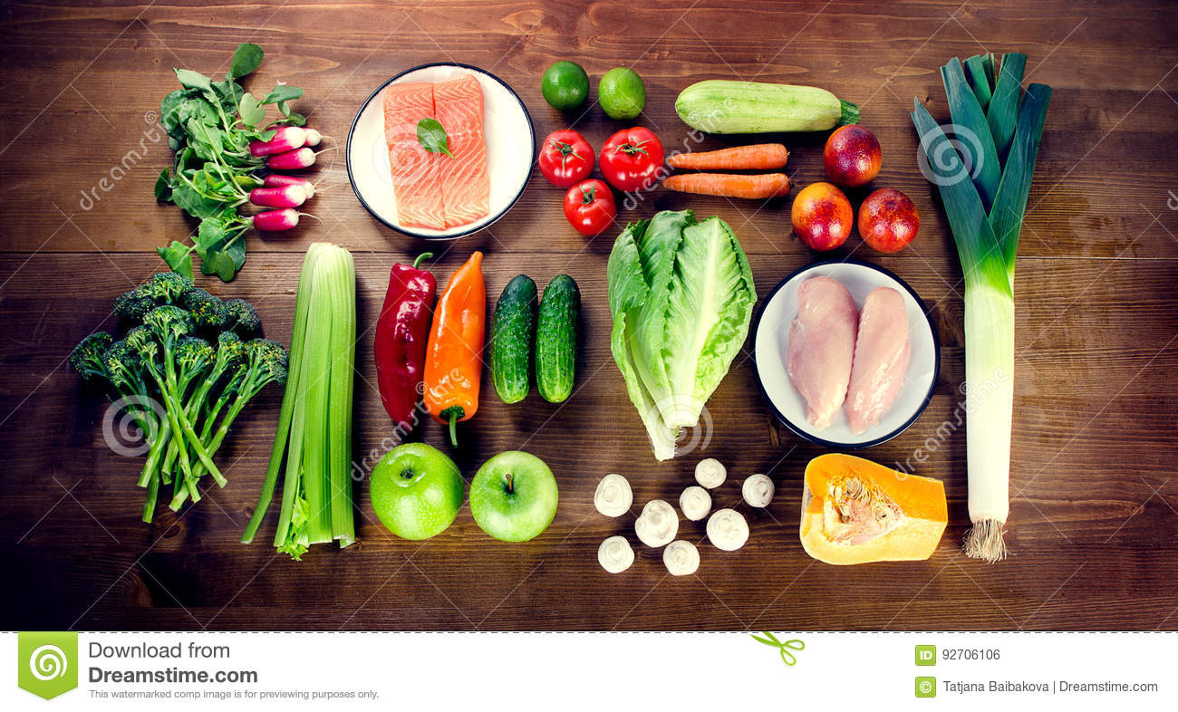 Balanced diet healthy food concept vegetables fruits for Fish and veggie diet