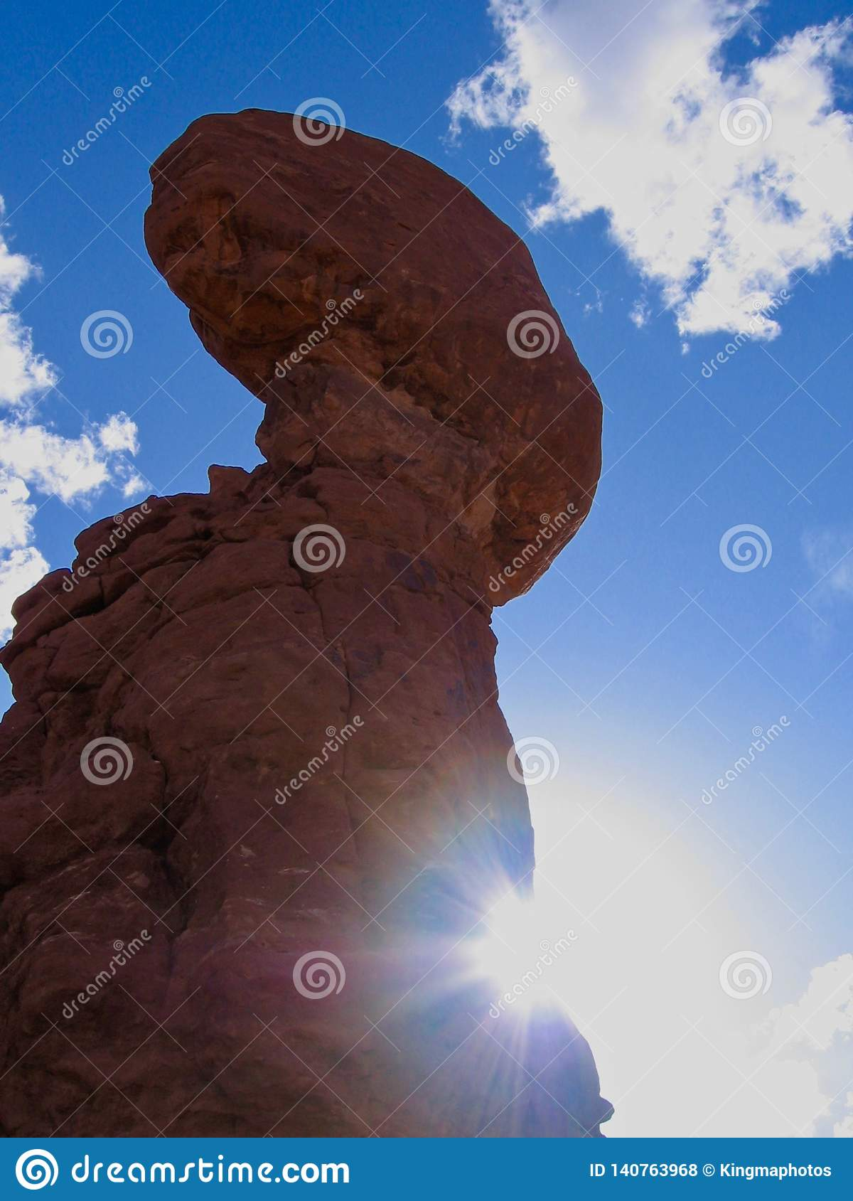 Balanced Rock in Arches National Park, Utah, United States of America. Blue sky and sunny late afternoon.