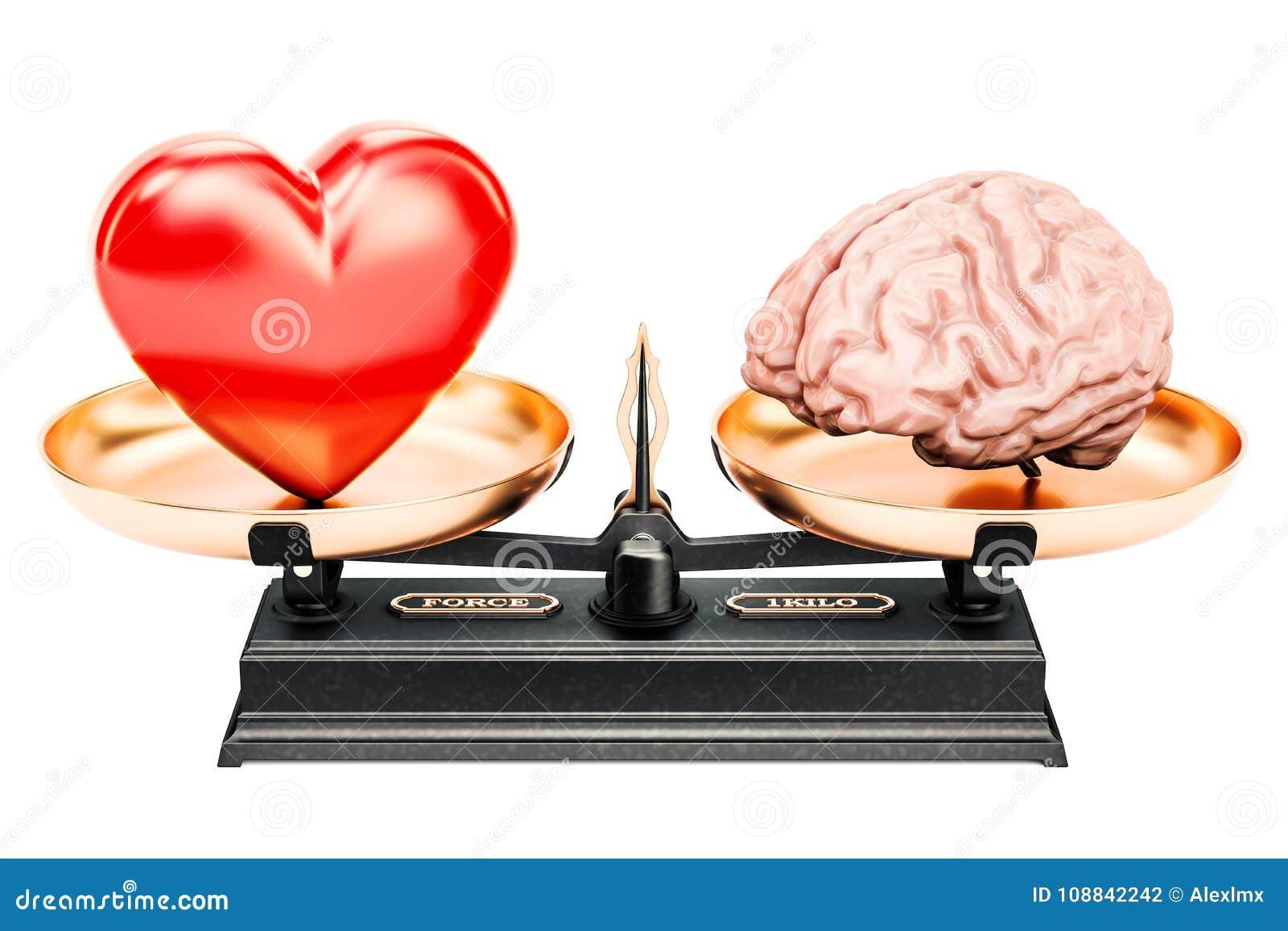 Balancieren Sie Konzept, Skalen mit Herzen und Gehirn, Wiedergabe 3D